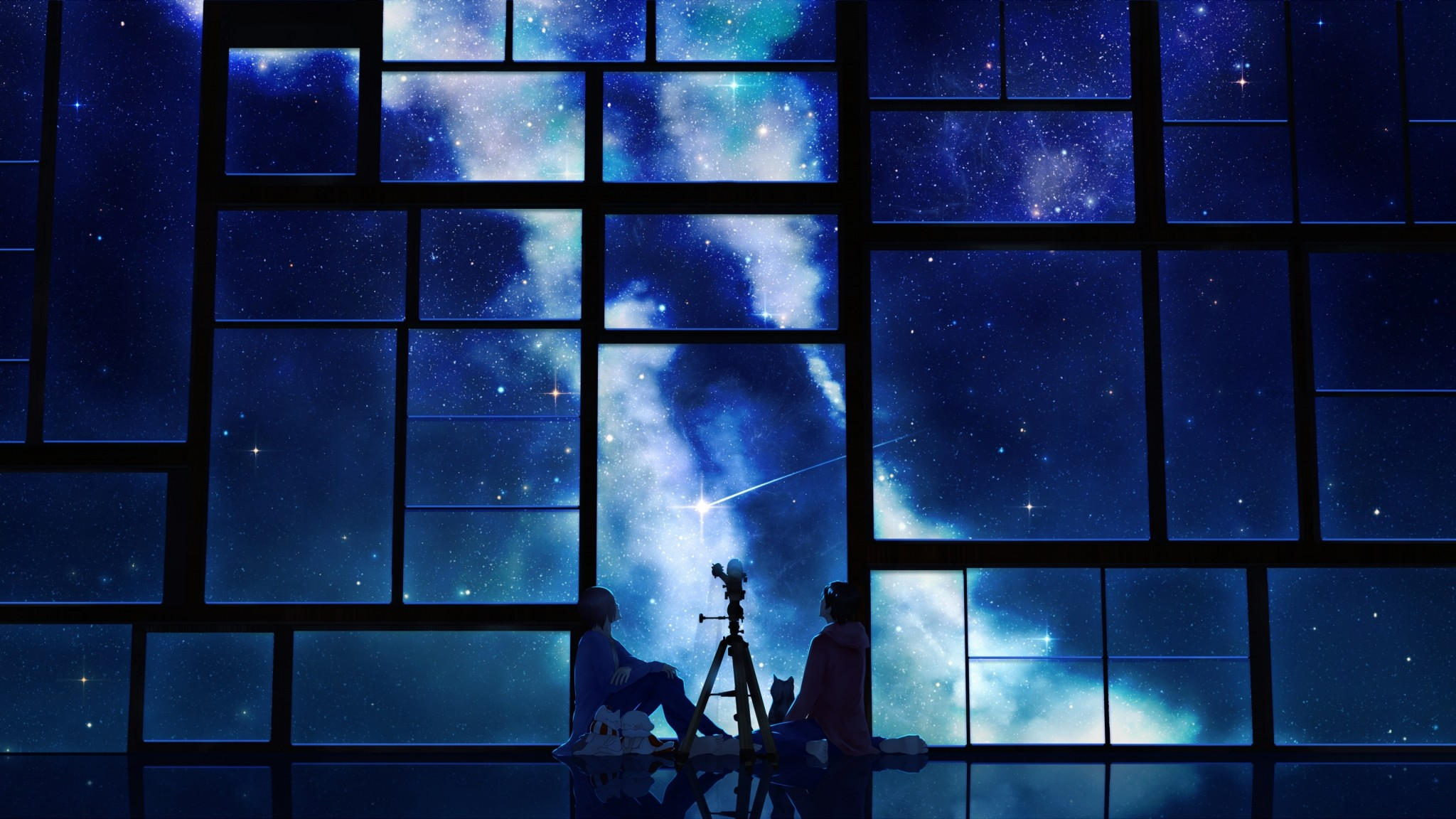 2048x1152 Preview wallpaper tamagosho, sky, stars, telescope, night, window