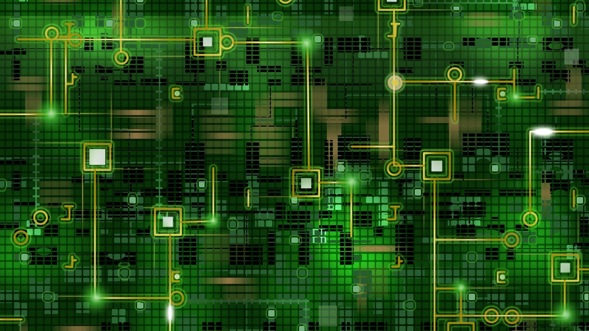 1920x1080 Preview wallpaper chip, grid, background, black, green, line, circuit
