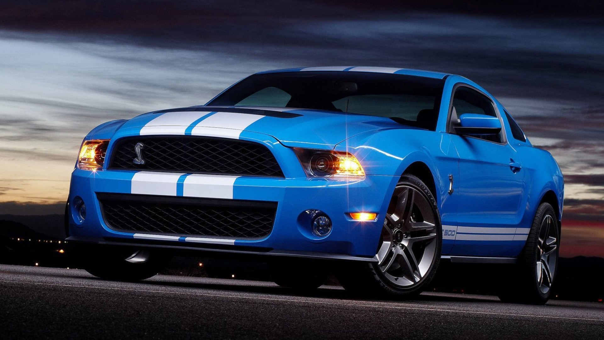 1920x1080 Ford Mustang Blue Car Bus Yellow