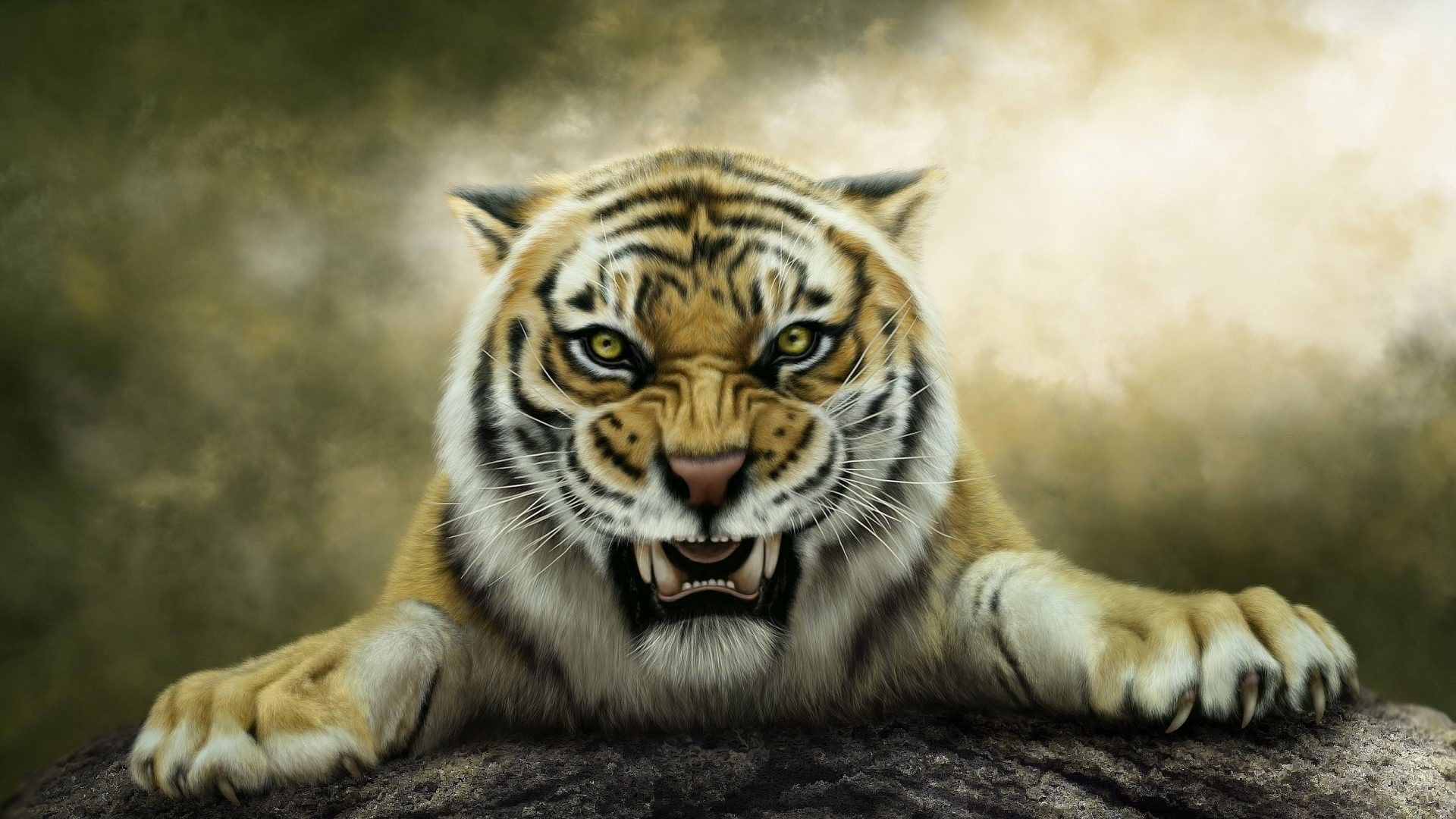 1920x1080 Cats - Fantasy Animals Tigers Art Roar Painting Images Of Grey Cats for HD  16:
