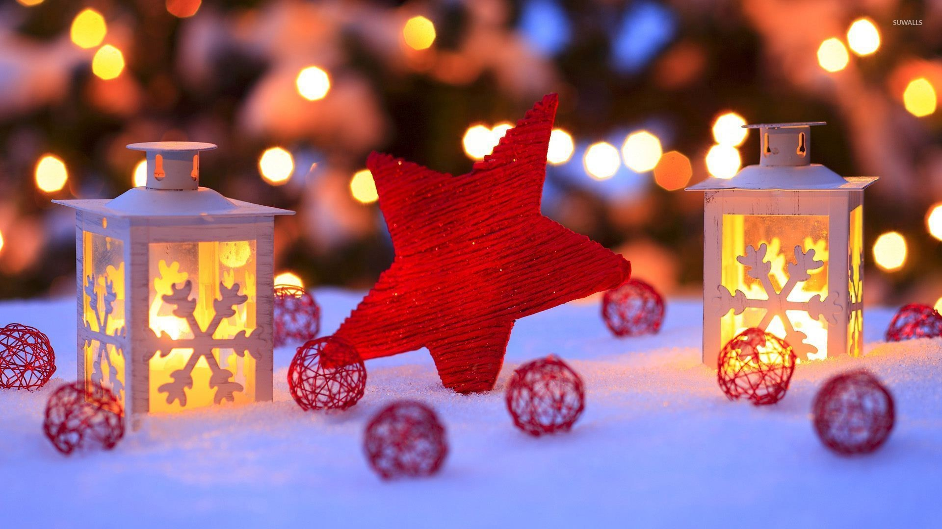 1920x1080 Red star in the snow by the candles wallpaper · Holidays · Christmas · Star  · Candle ·  ...