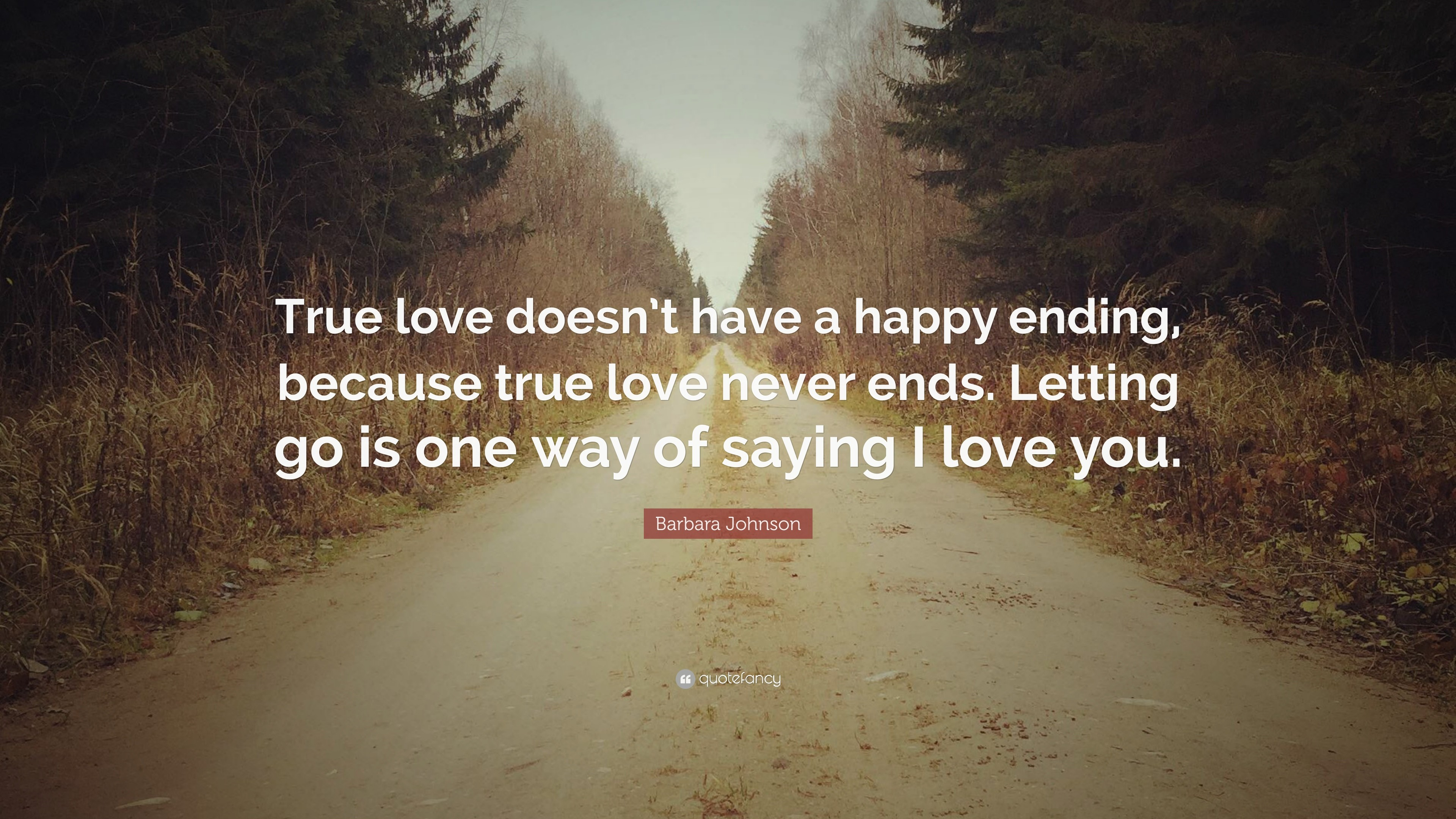 "3840x2160 Barbara Johnson Quote: ""True love doesn't have a happy ending, because"