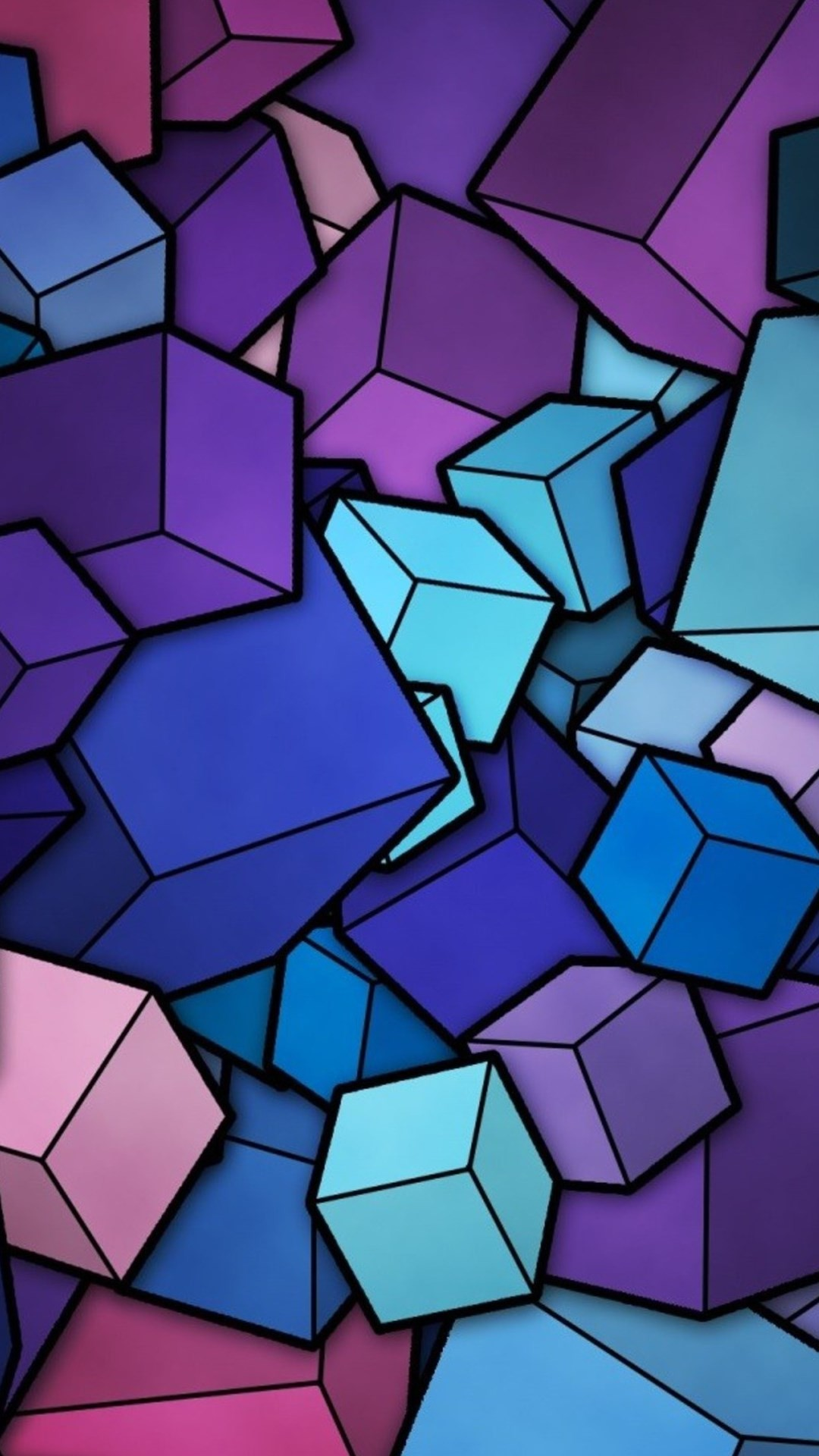 1080x1920 Abstract Blue Cyan Purple Cubes Android Wallpaper ...