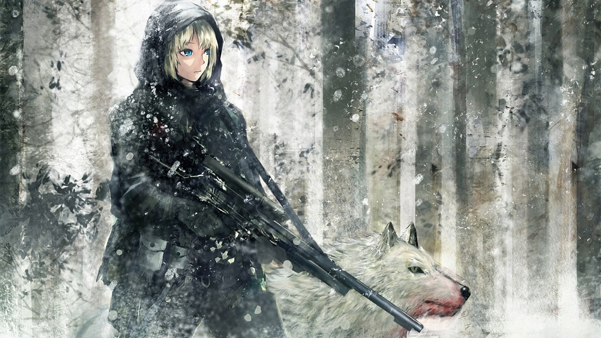 1920x1080 anime soldier girl rifle white wolf hd wallpaper