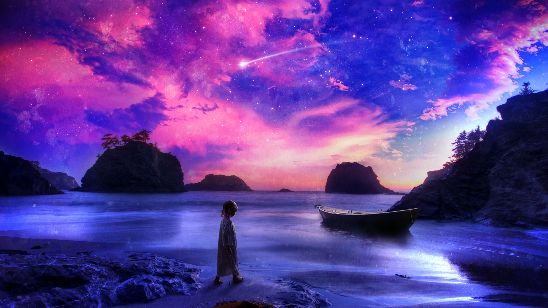 1920x1080 Child Shore Beach Purple Boat Stars Shooting Star Fantasy Ocean Sea Babies  Children Sky Clouds Cartoon Landscapes Wallpaper At Fantasy Wallpapers