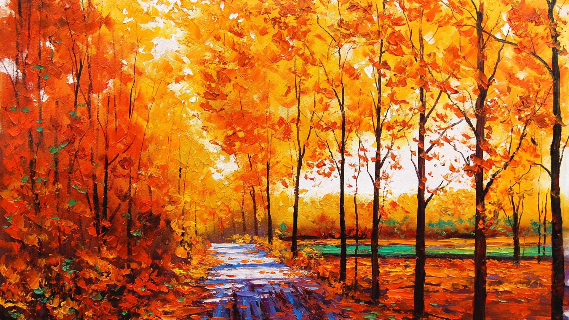 1920x1080 hd pics photos art autumn forest oil paintings wallpaper