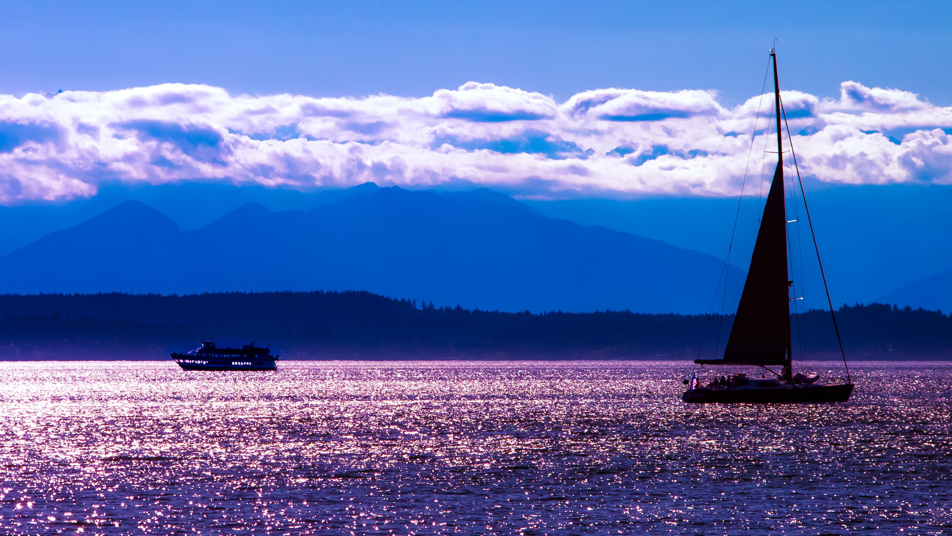 3256x1835 silhouette shot of sail on body of water, puget sound HD wallpaper