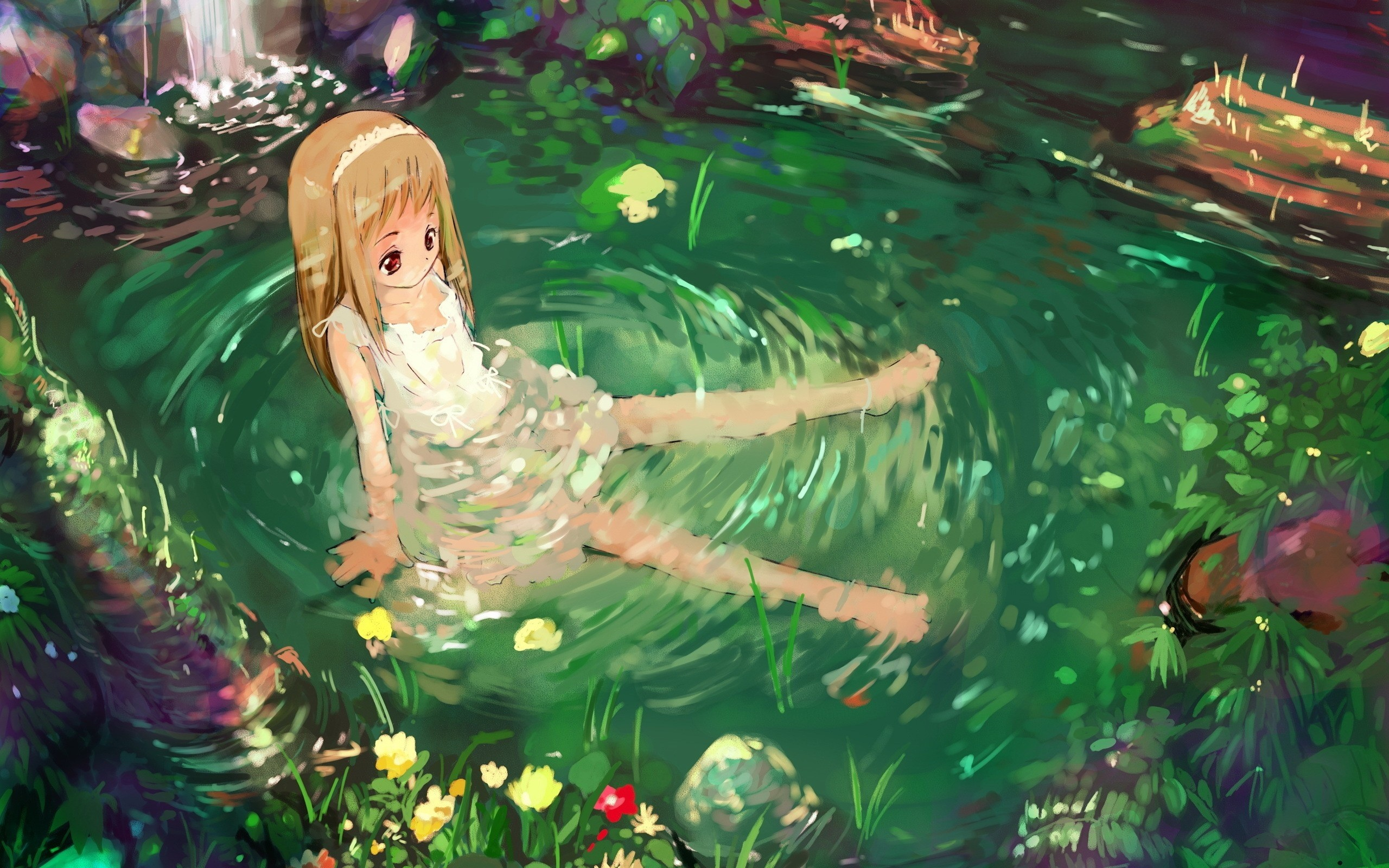 2560x1600  Wallpaper anime, girl, nature, water, sadness