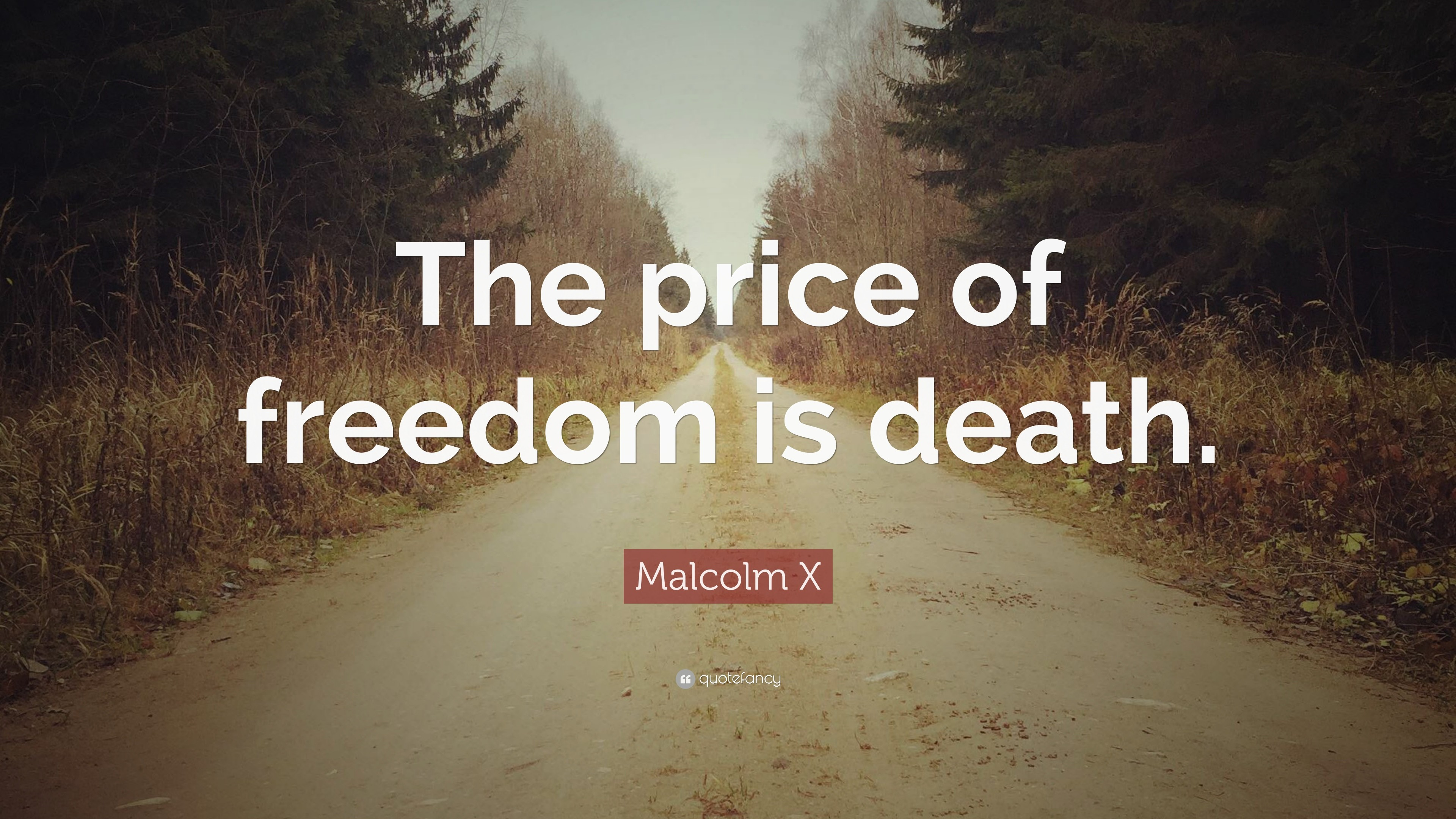 "3840x2160 Malcolm X Quote: ""The price of freedom is death."""