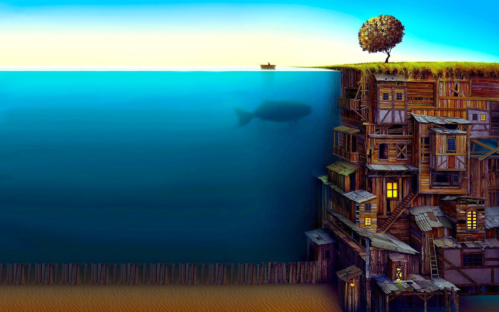 1920x1200 trees, Water, Abstract, Fish, Fantasy Art, Ladders, Split View, Filter,  Jacek Yerka, Owl City, Whale Wallpapers HD / Desktop and Mobile Backgrounds