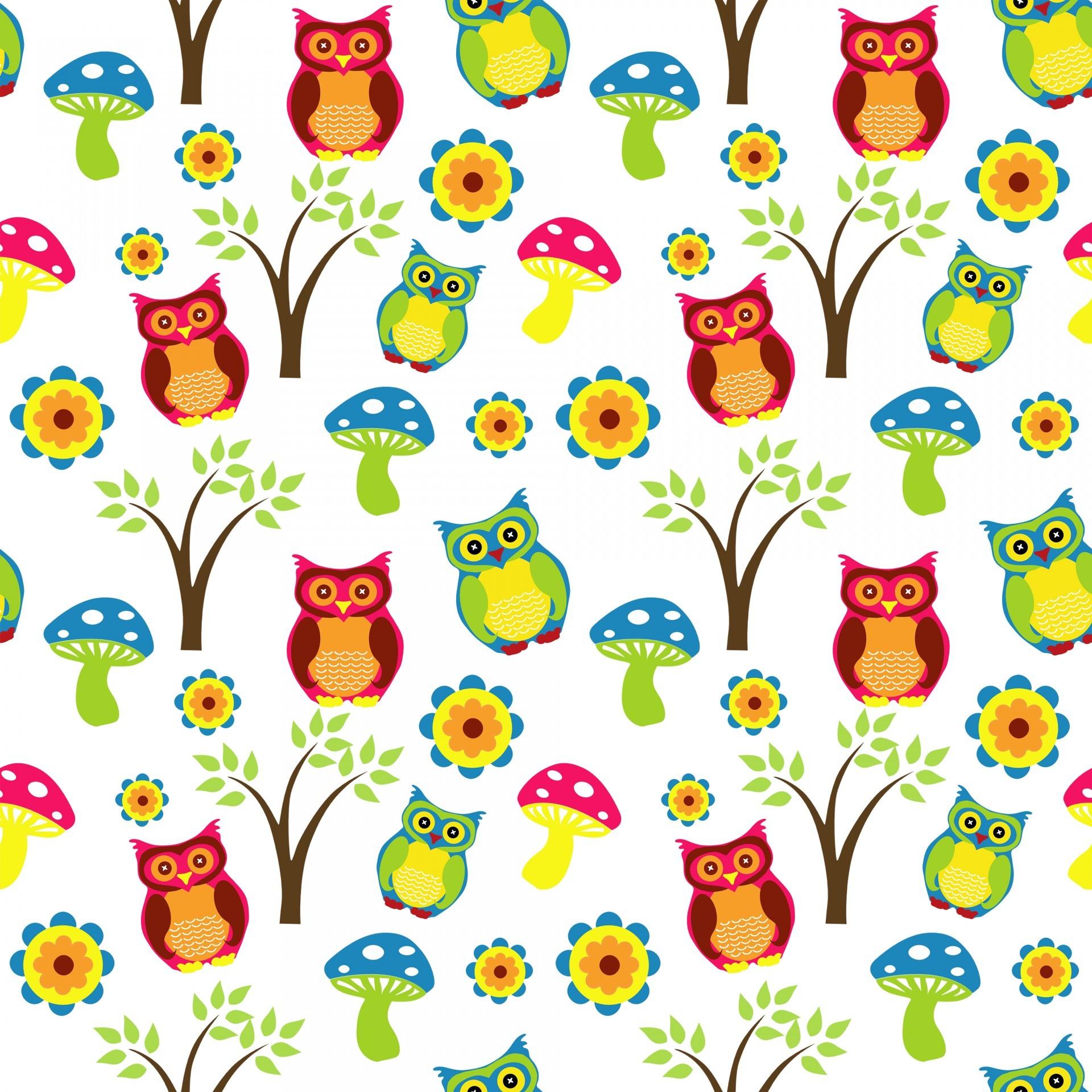 1920x1920 Cute Owl Wallpaper Pattern