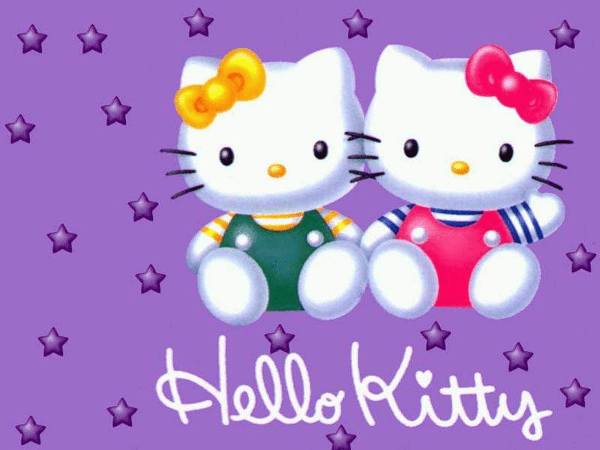 2000x1500 Screenshot of Hello Kitty friends wallpaper on a purple background
