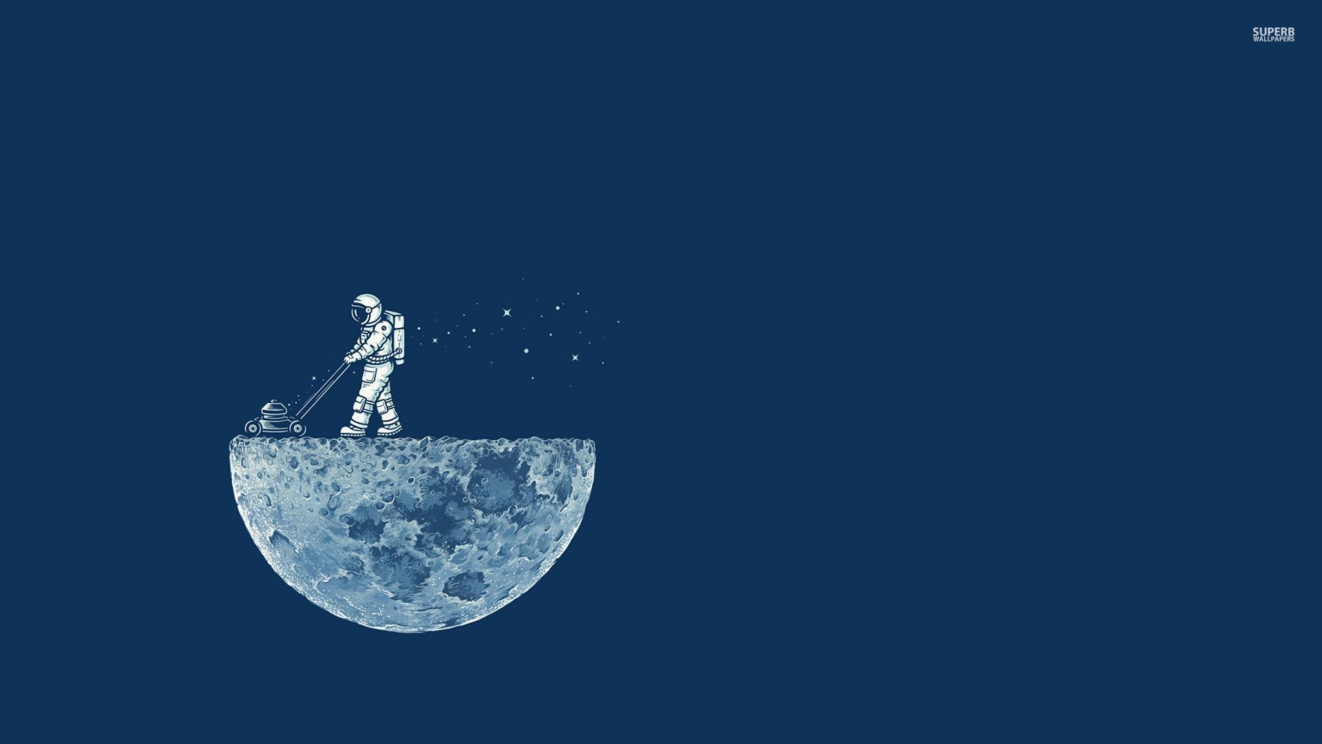 1920x1080 Astronaut mowing the moon wallpaper - Funny wallpapers - #31038