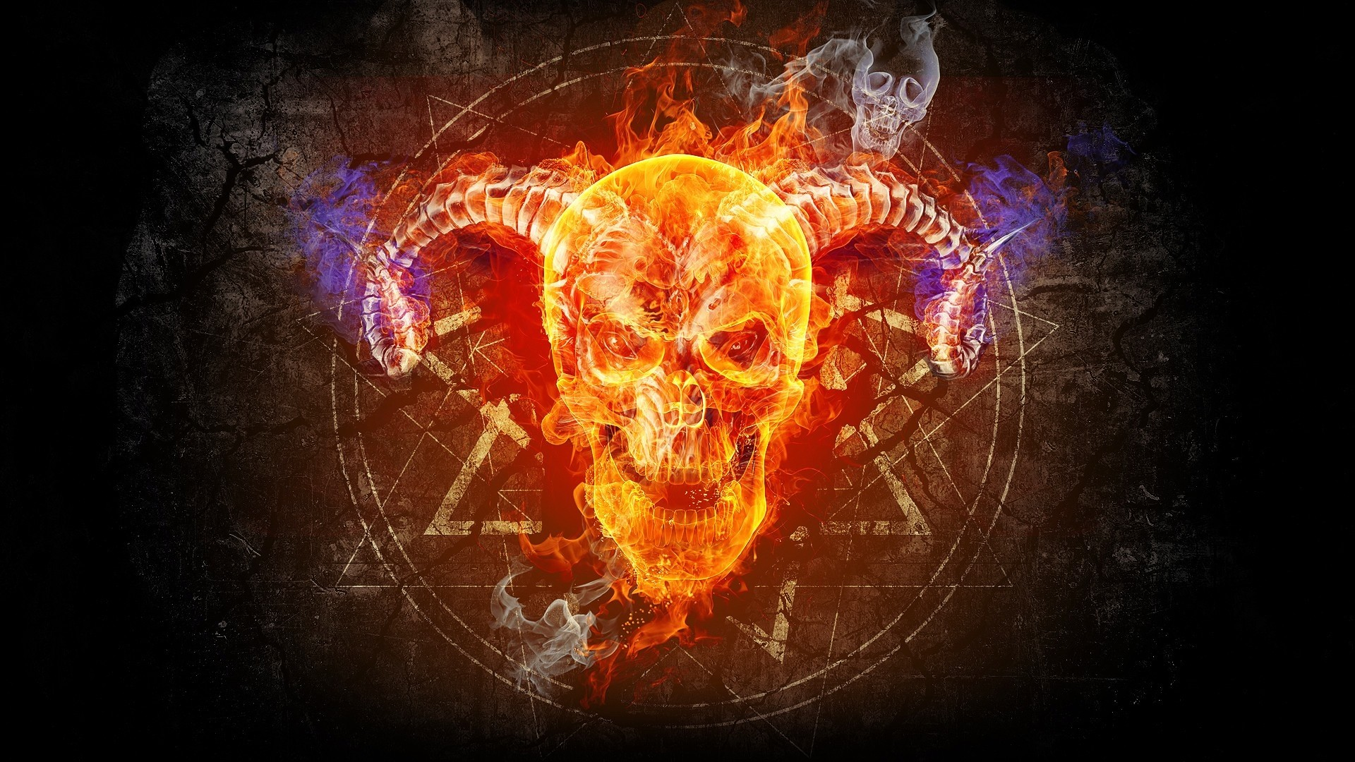 Skull and crossbones blue fire