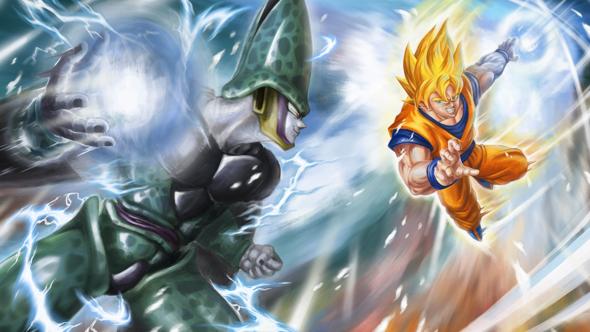 1920x1080 SSJ Goku vs Perfect Cell - Another well choreographed fight in Dbz. and the  shock of Goku forfeiting the match to Cell and passing the torch to Gohan.