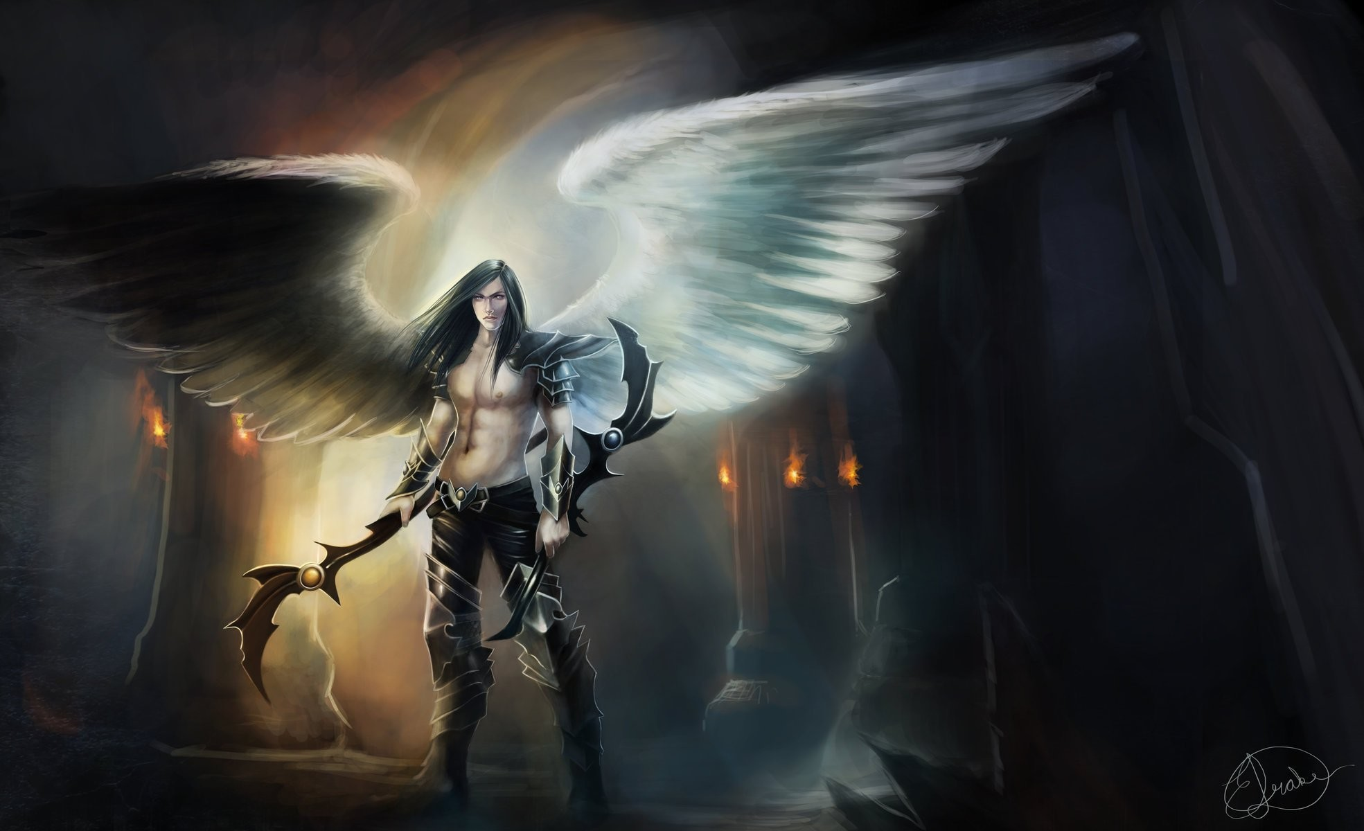 1969x1200 fiction art angel demon wings weapon. view guy