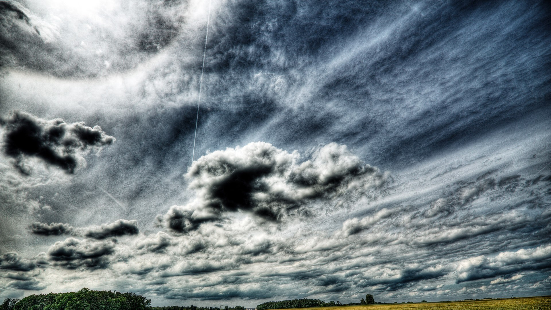 1920x1080 Download Sky Fields Trees Glorious Clouds Stormy Skies Wallpaper