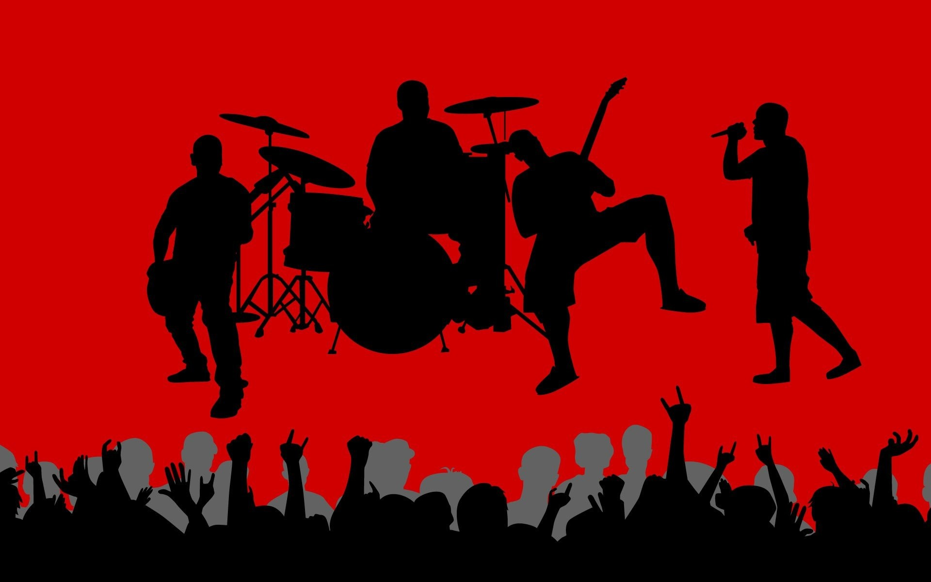 1920x1200 Music vectors shadows crowd band red background wallpaper |  |  252059 | WallpaperUP