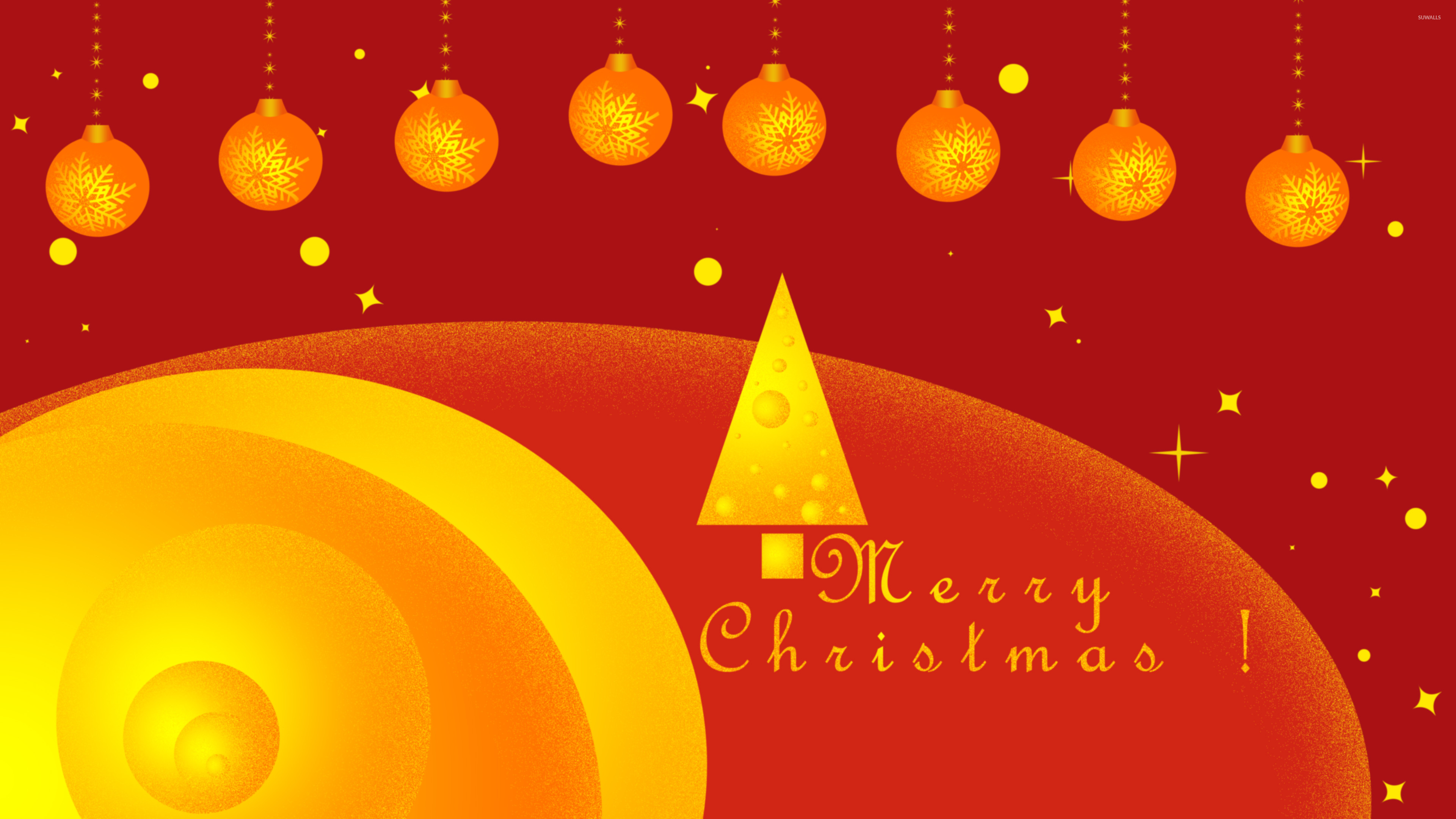 3840x2160 Golden Christmas tree and baubles wallpaper  jpg