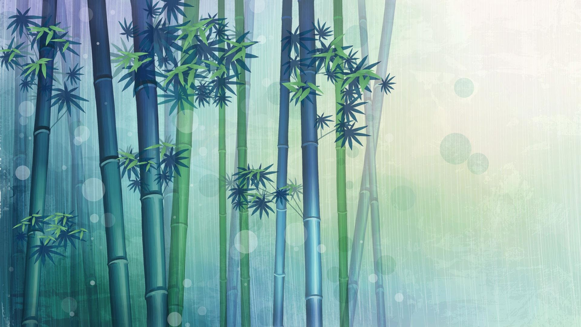 1920x1080  Hd Bamboo and rain painting desktop backgrounds wide wallpapers :1280x800,1440x900,1680x1050