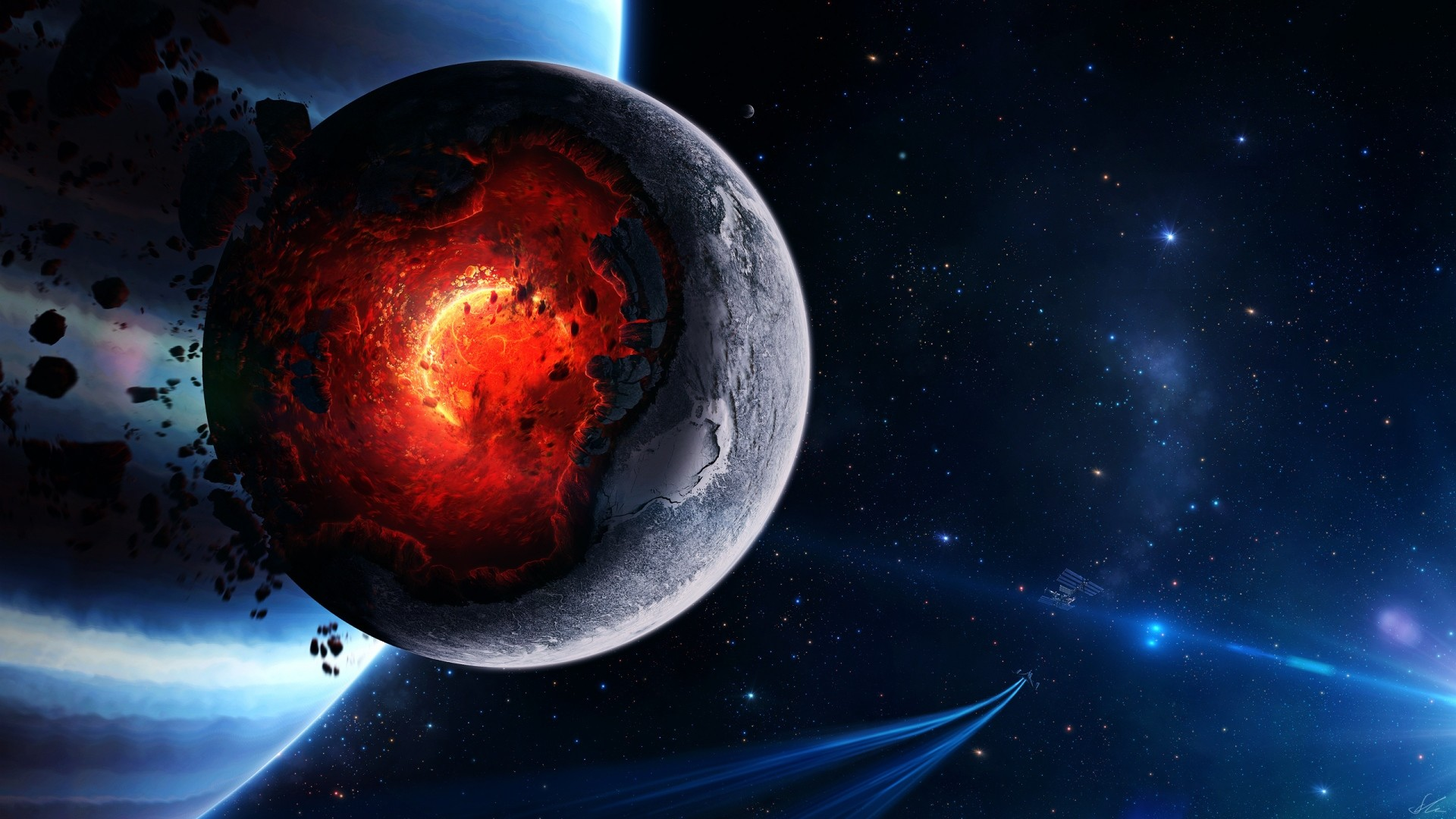 1920x1080 Preview wallpaper space, cataclysm, planet, art, explosion, asteroids,  comets,