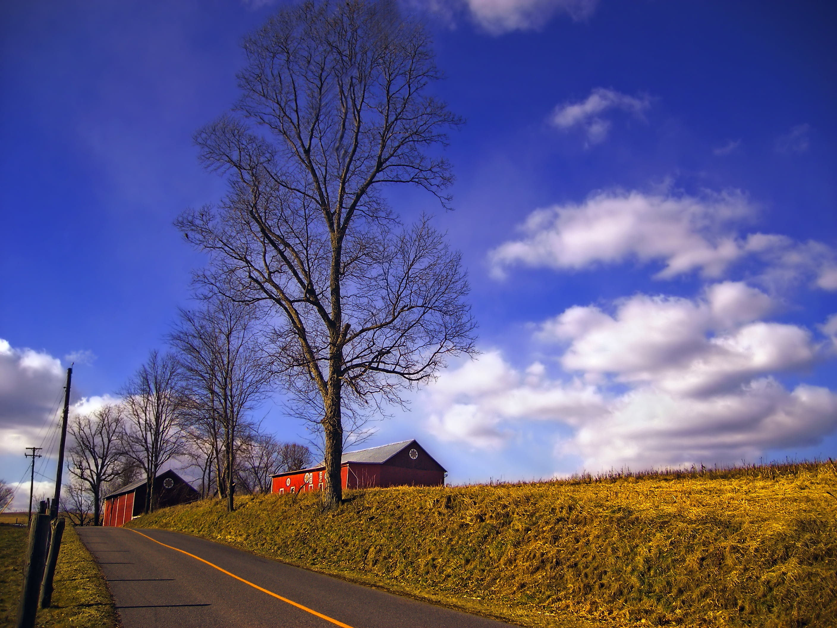 2816x2112 red barn houses beside a road with trees under a blue cloudy sky HD  wallpaper