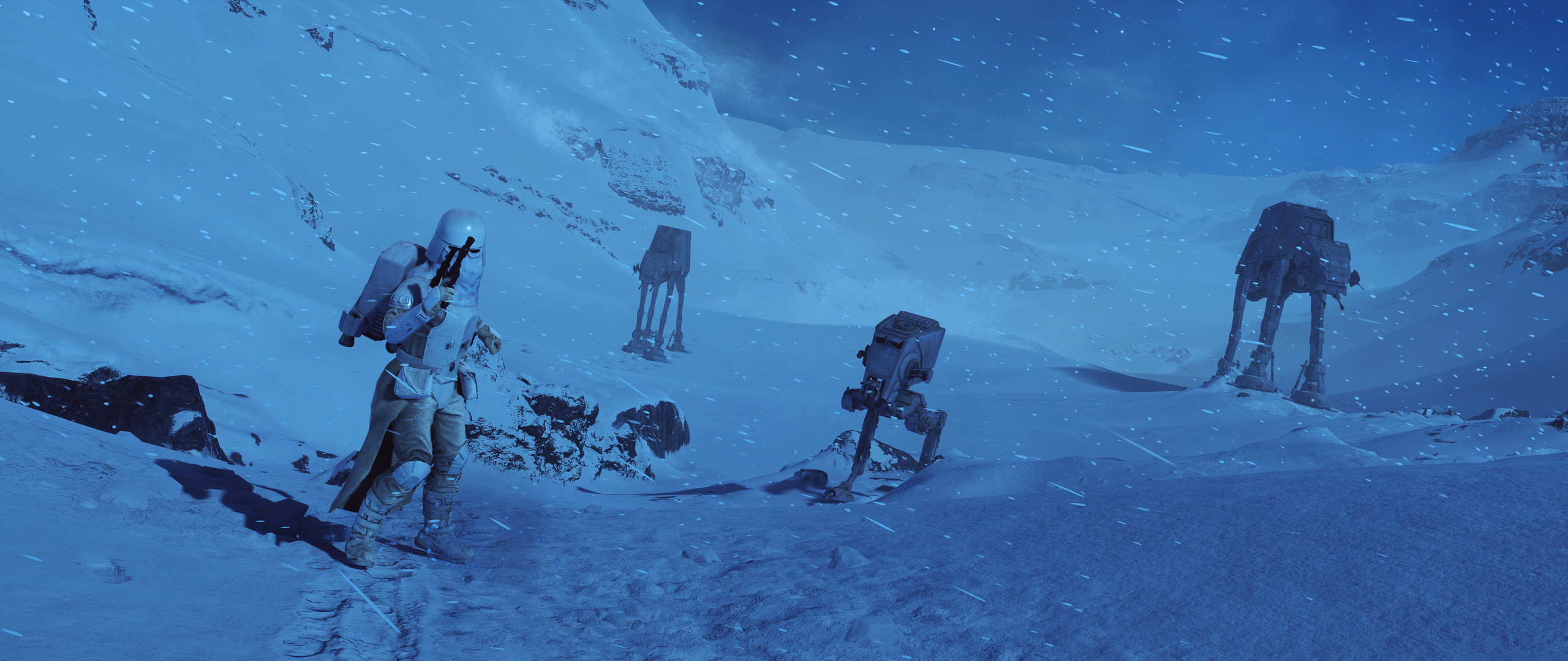2560x1080 Video Game - Star Wars Battlefront (2015) Snowtrooper AT-AT Walker Wallpaper