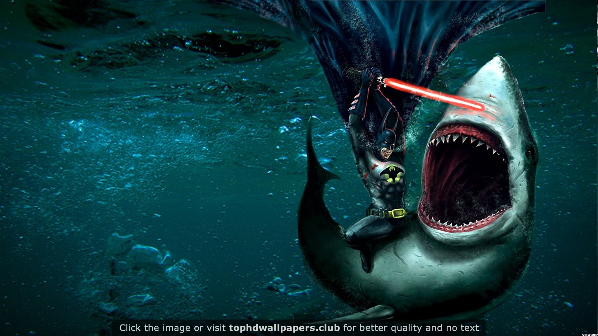 1920x1080 Batman Fighting a Shark With a Lightsaber 4K or HD wallpaper for your PC,  Mac