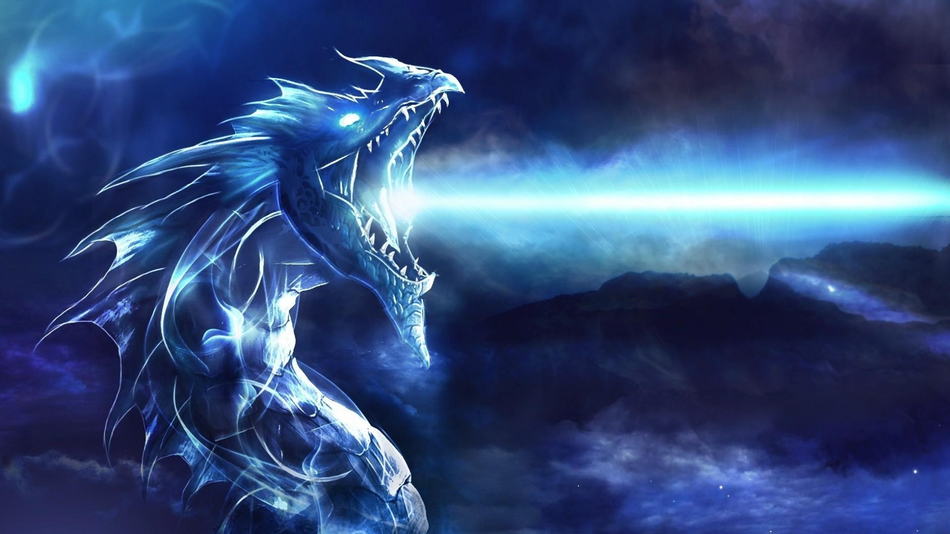 1920x1080 Preview wallpaper dragon, mouth, night, light