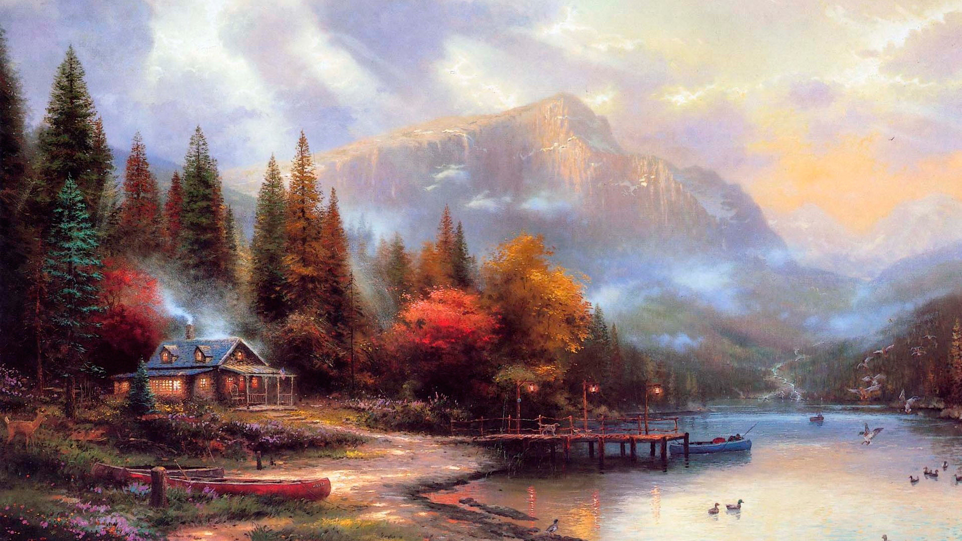 1920x1080 best images about The Painter Of Light Thomas Kinkade on