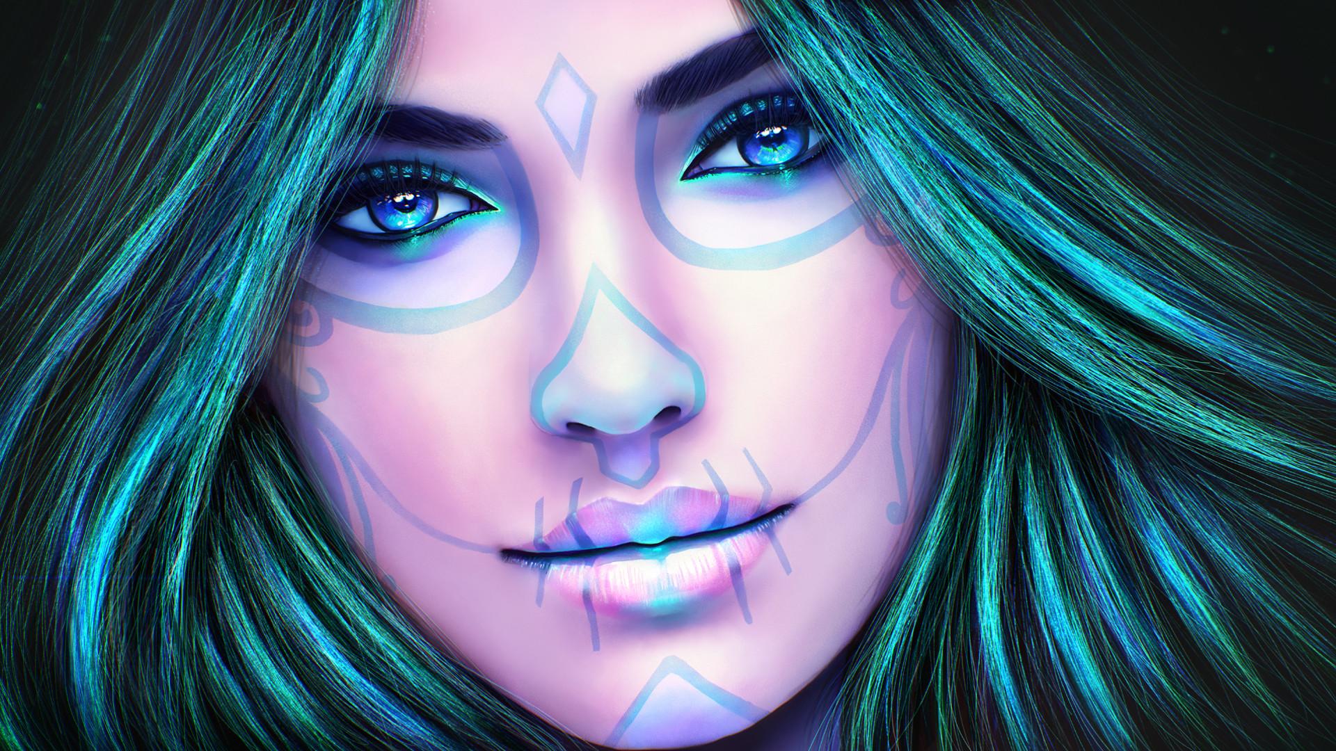 2148x1200 Girls Dia De Los Muertos Day Of The Dead Face Paint Style Summer
