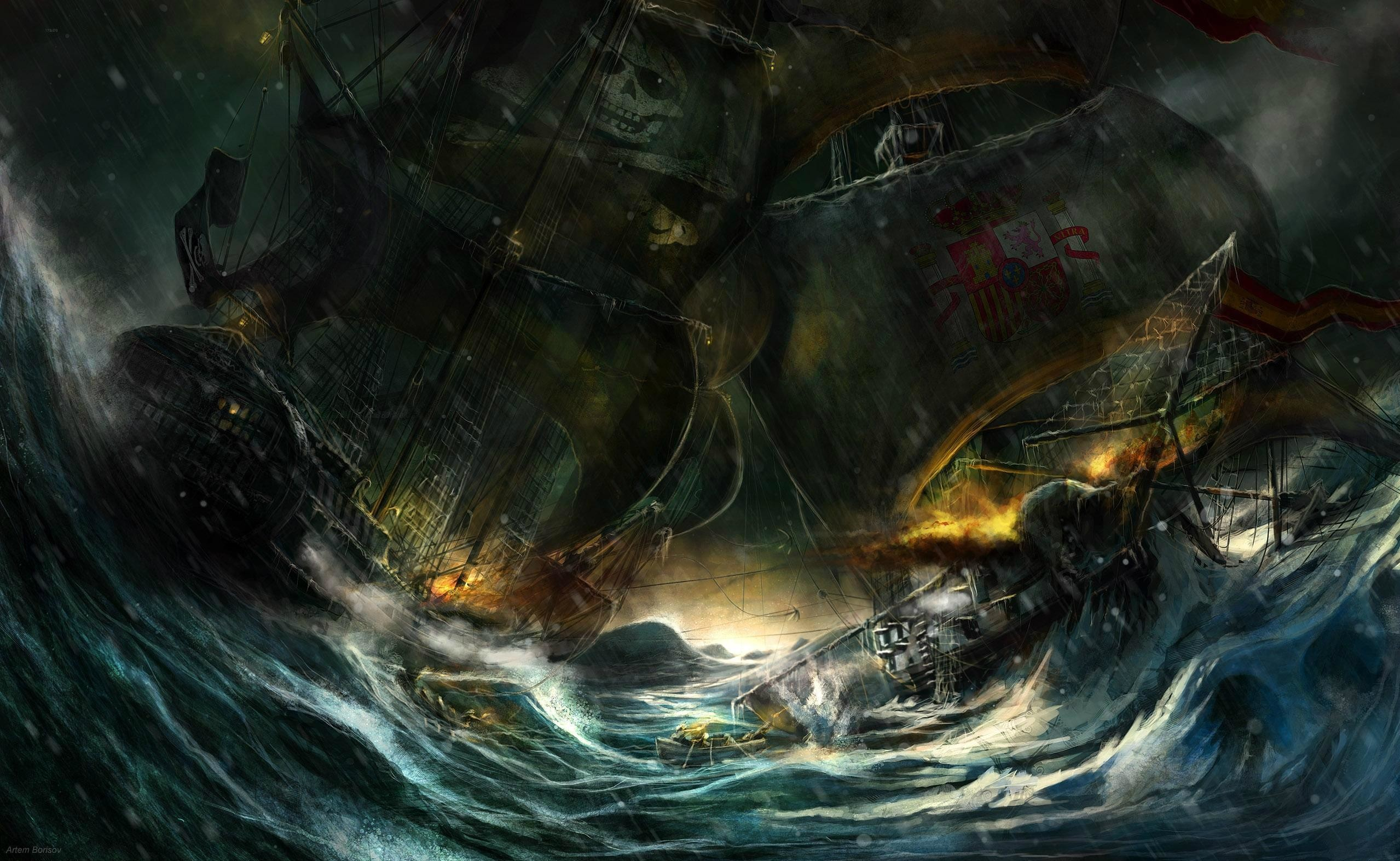 2558x1573 Battle Of Pirate Ship Hd Wallpaper | Wallpaper List