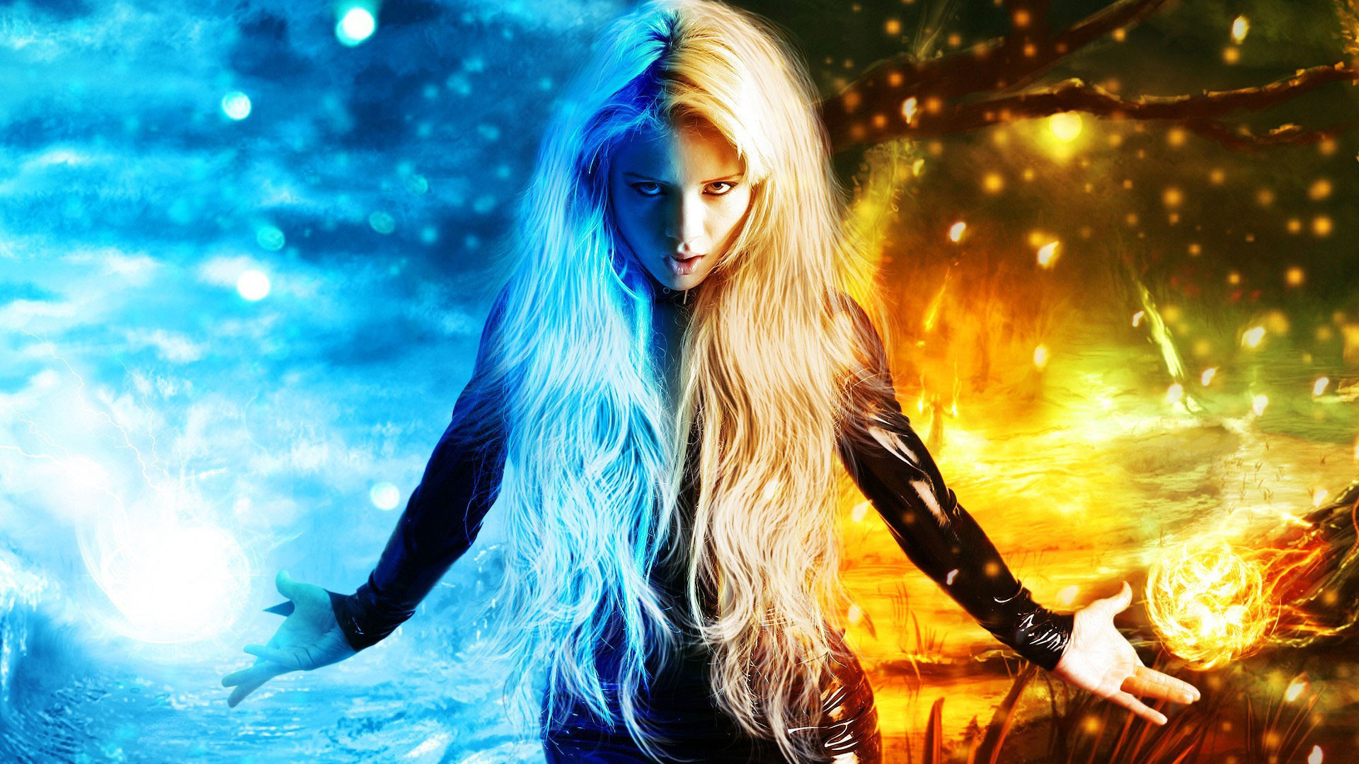 1920x1080 hd pics photos art fantasy digital art magic x men fire ice girl wallpaper