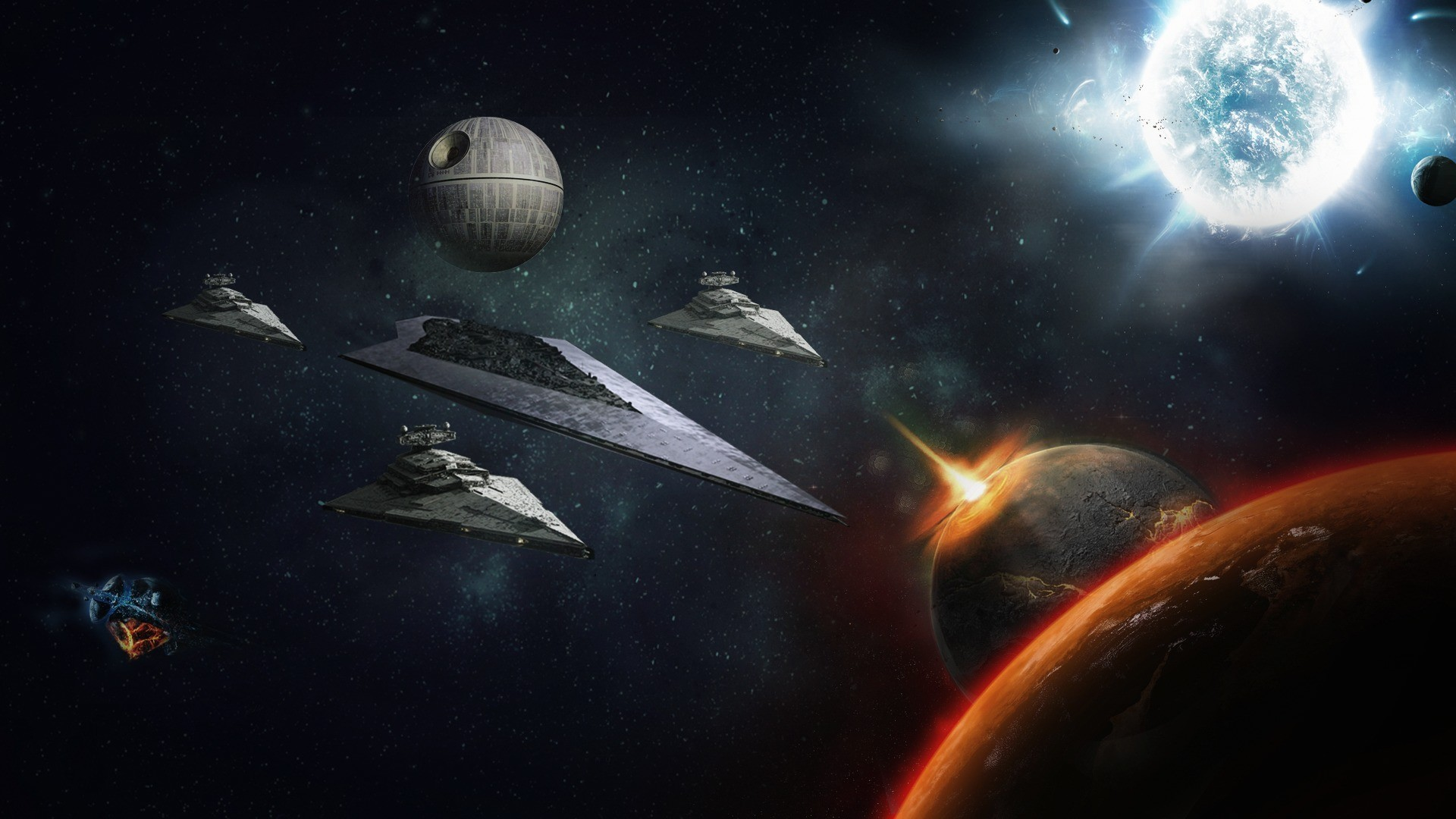 1920x1080 Star Wars, death star, fantasy, game, planet, space, starship,