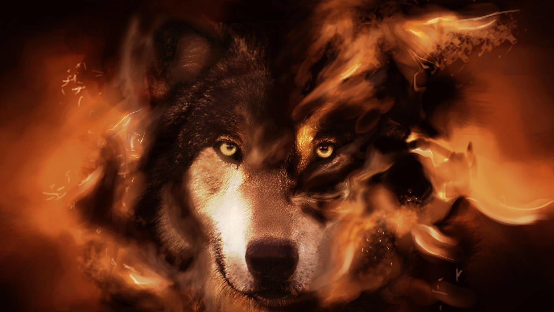 1920x1080 Graphically Designed Wolf Wallpaper