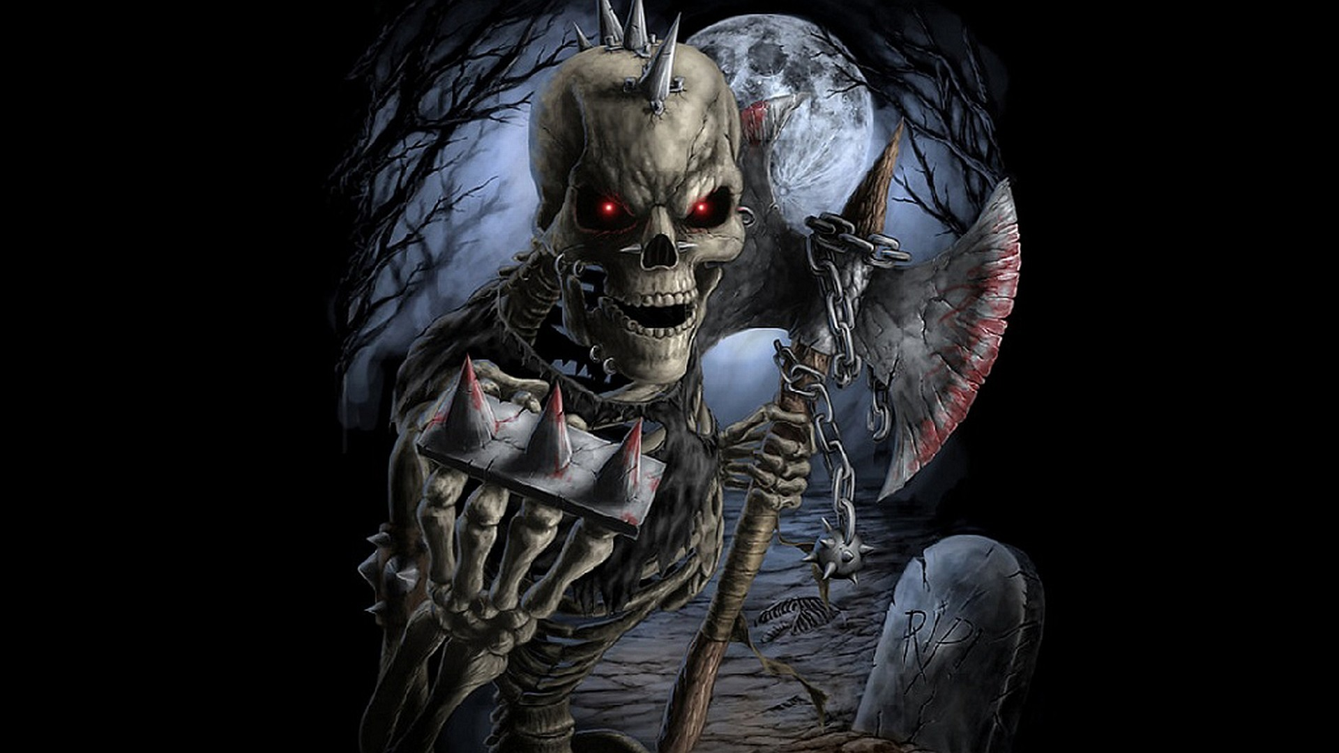 Scary skeleton wallpaper 66 images - Scary skull backgrounds ...