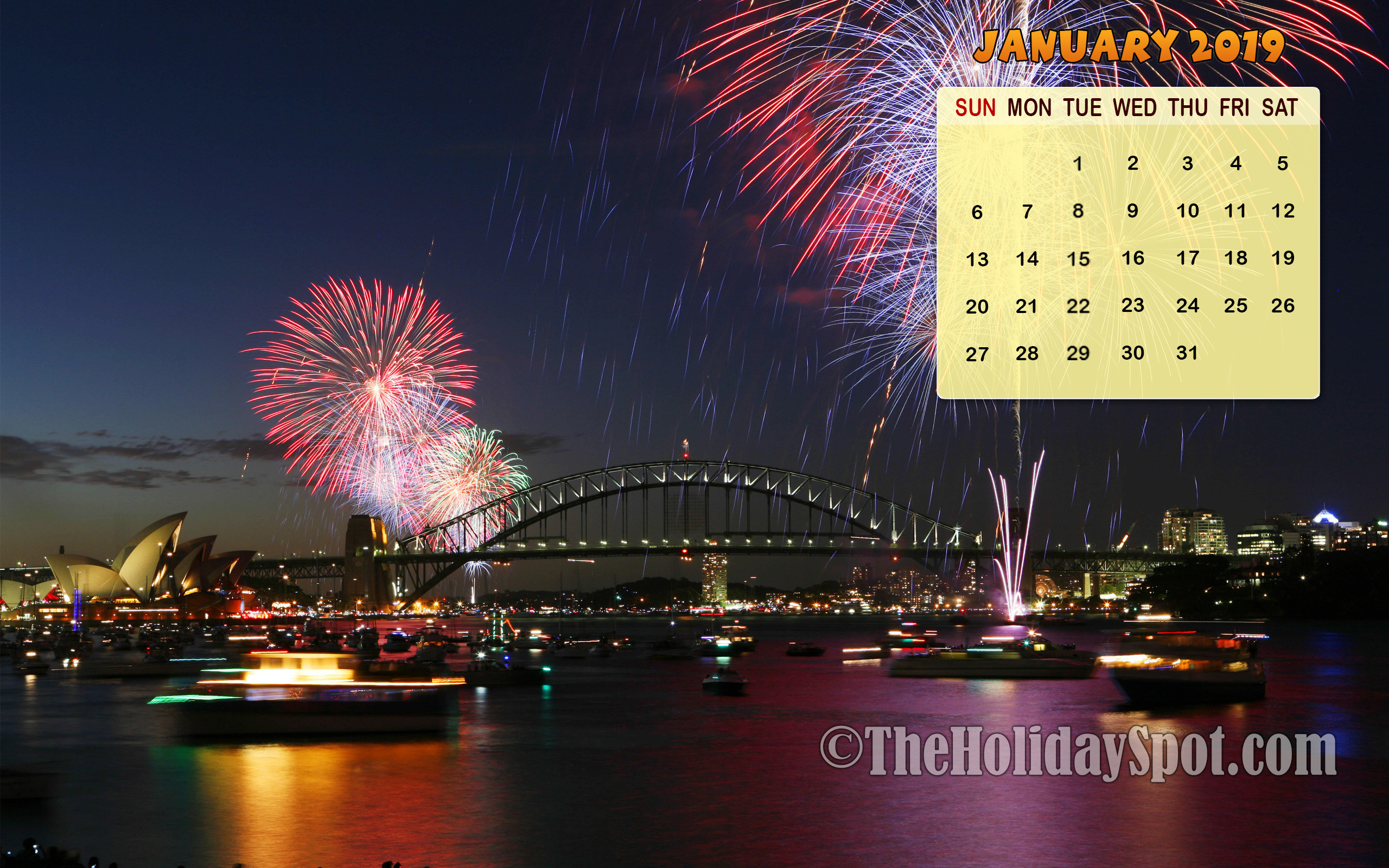 2560x1600 January 2019 Calendar Wallpaper with fireworks