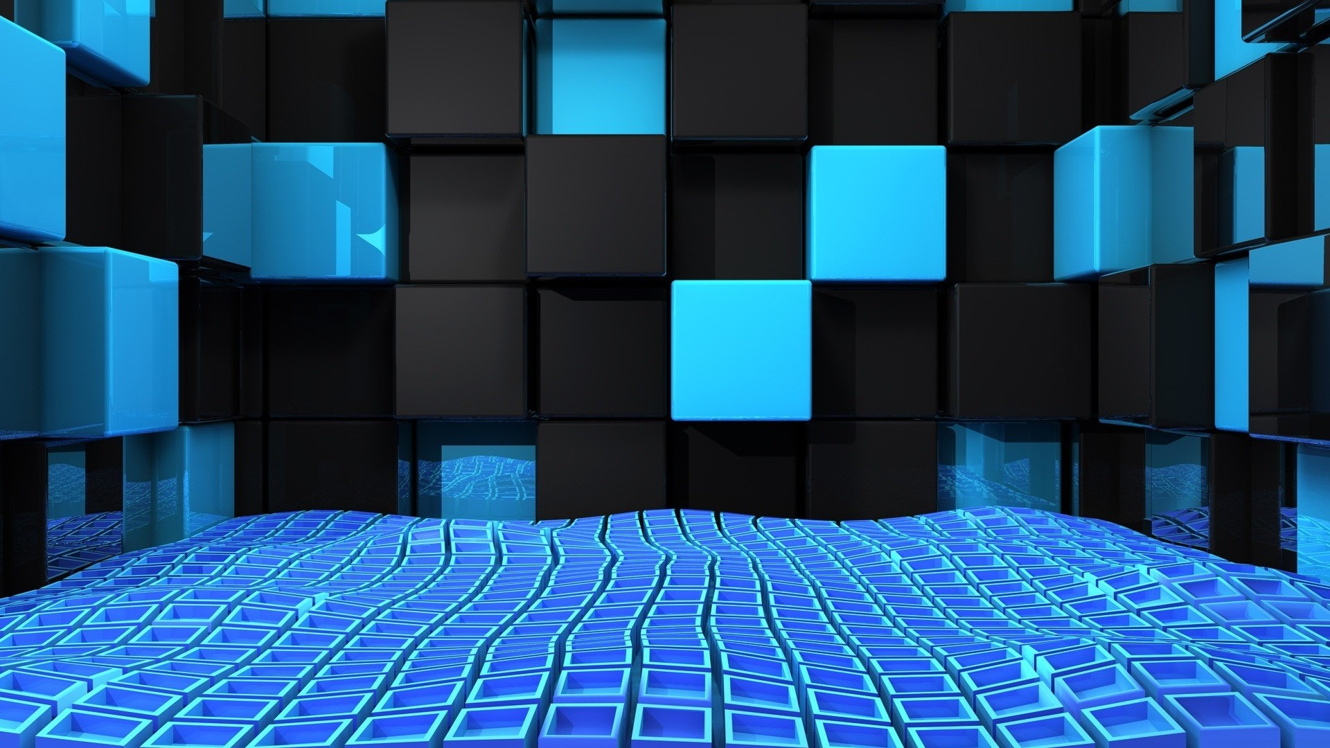 1920x1080 Preview wallpaper cube, squares, space, blue, black, weightlessness