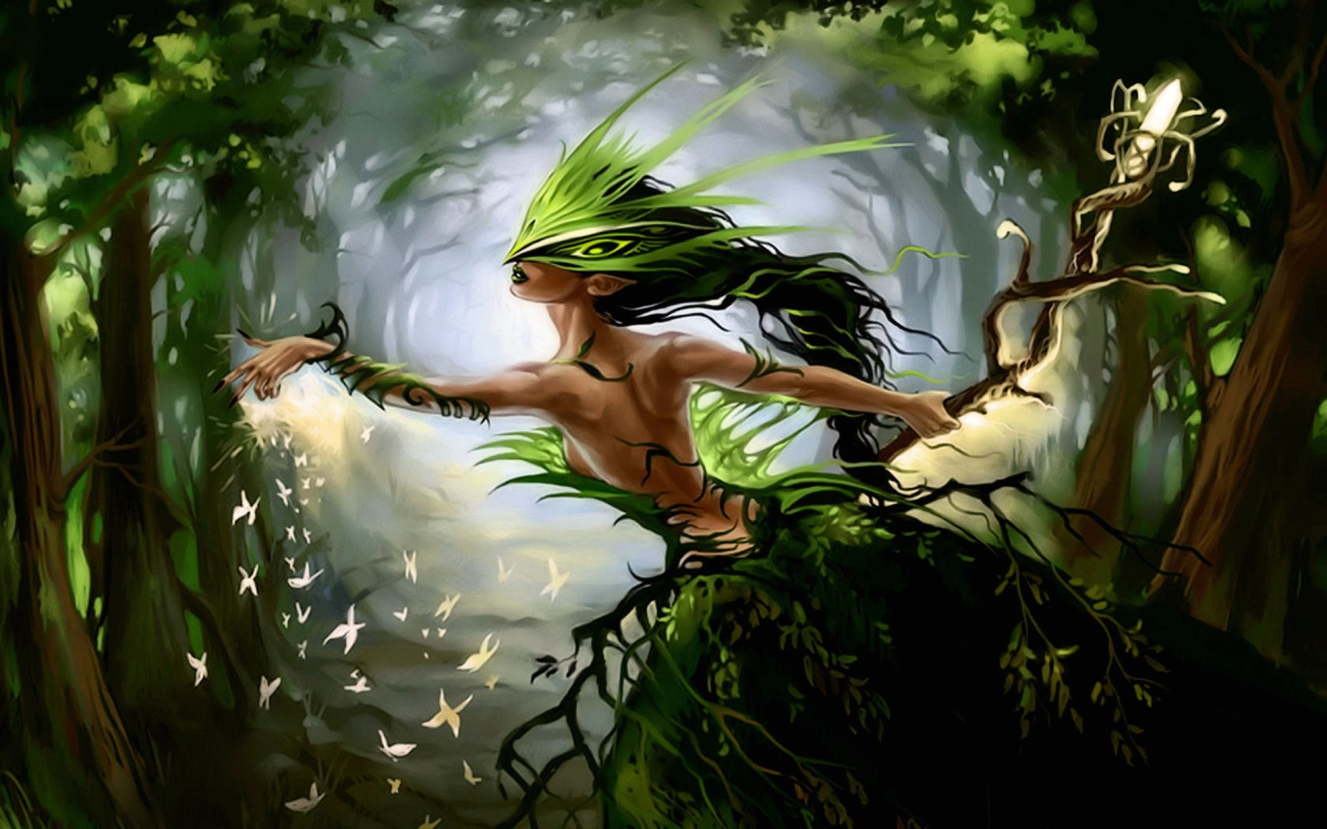 1920x1200 Wallpaper forest fairy