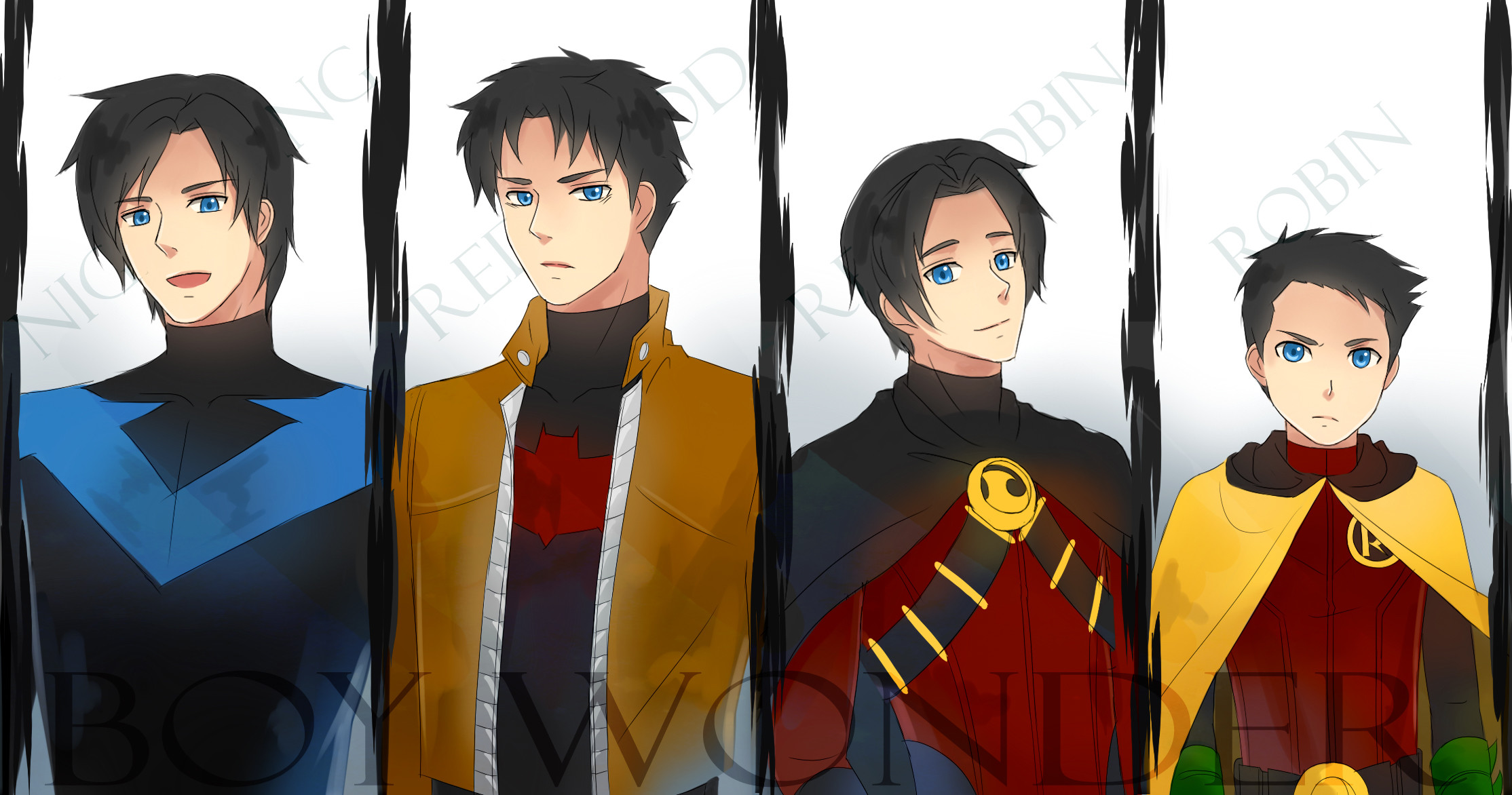 2228x1172 Tags: Anime, Batman, Nightwing, Jason Todd, Red Hood (Jason Todd