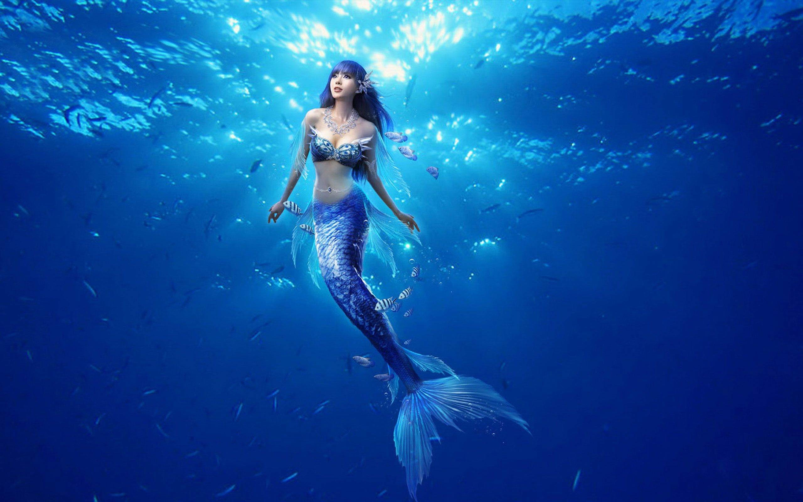 2560x1600 3d Beautiful Mermaid Under Ocean Wallpaper