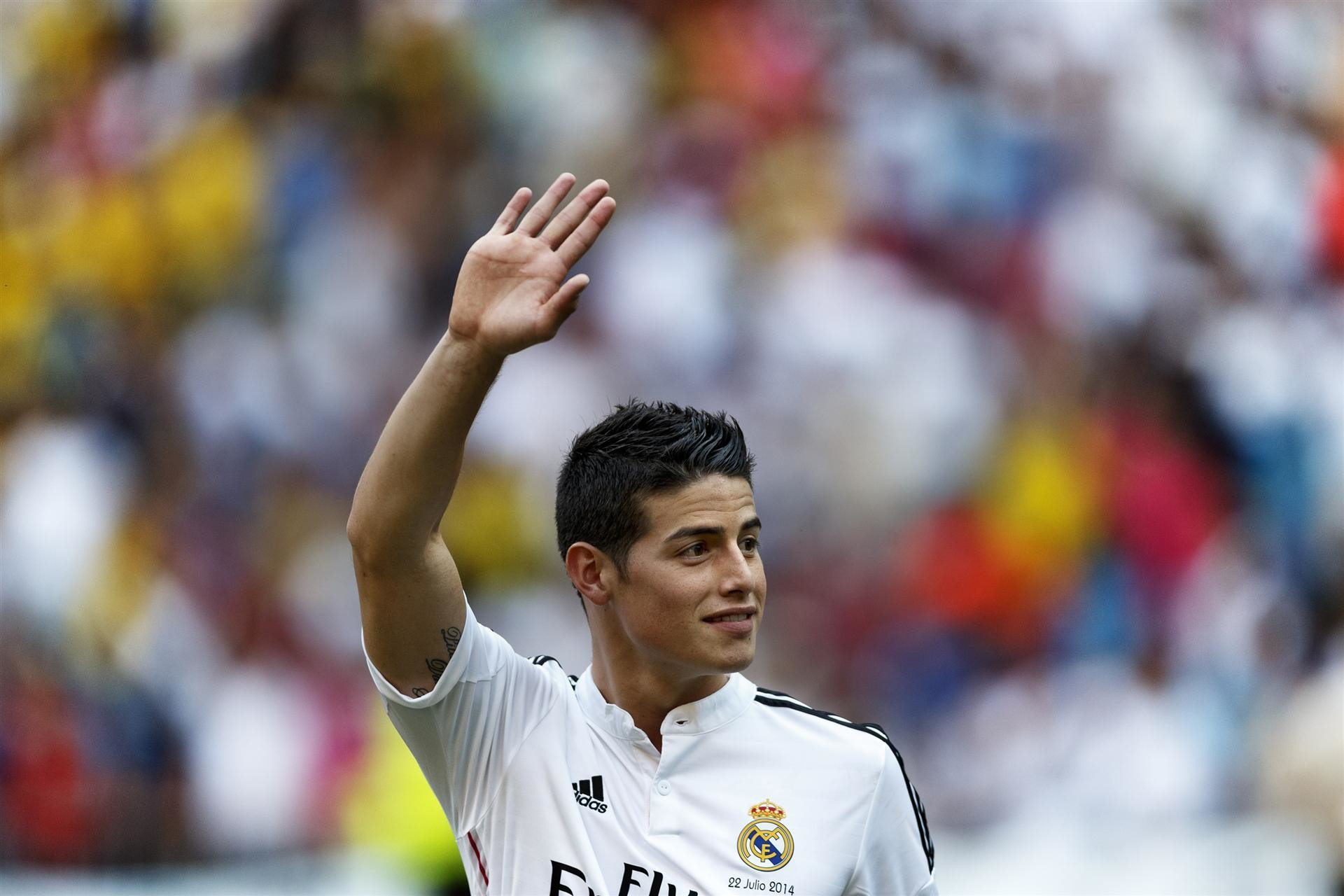 1920x1280 James rodriguez hd wallpaper with Real Madrid jersey - he plays as playmaker