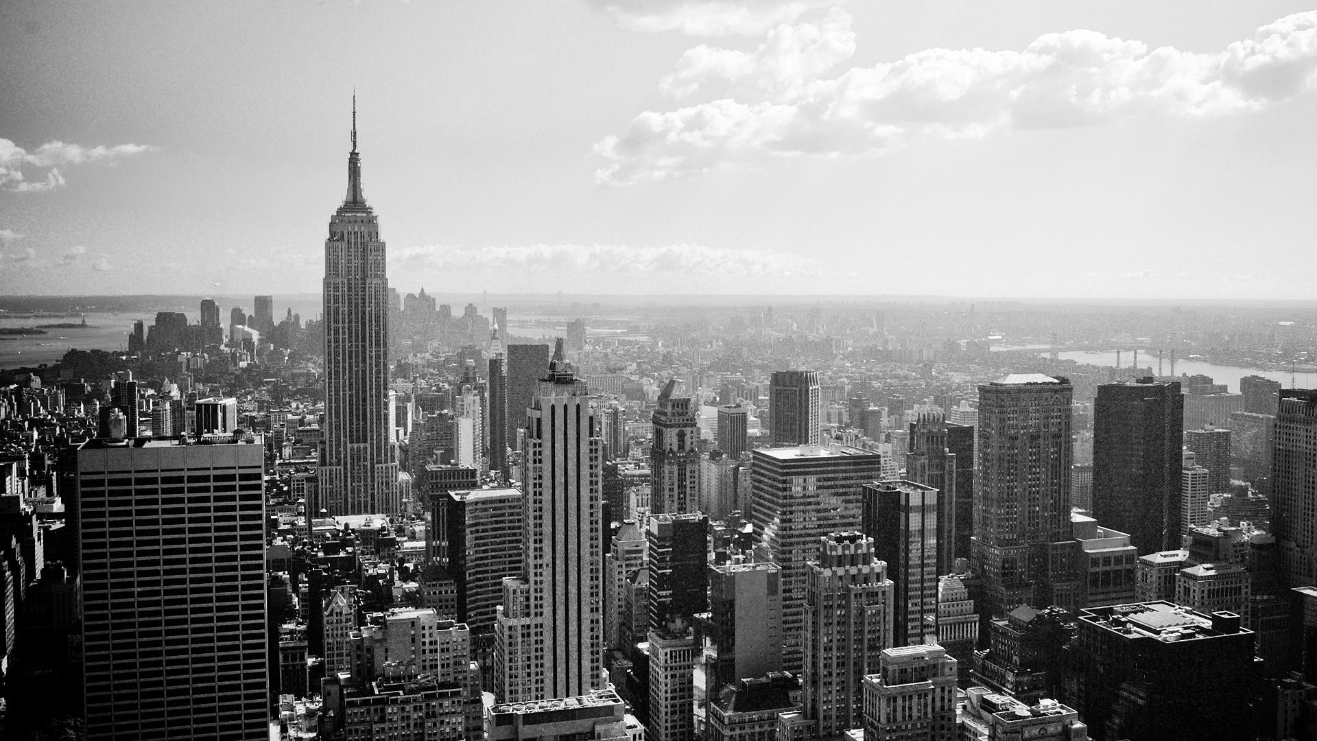 1920x1080 New York City Black And White Wallpaper Desktop Background