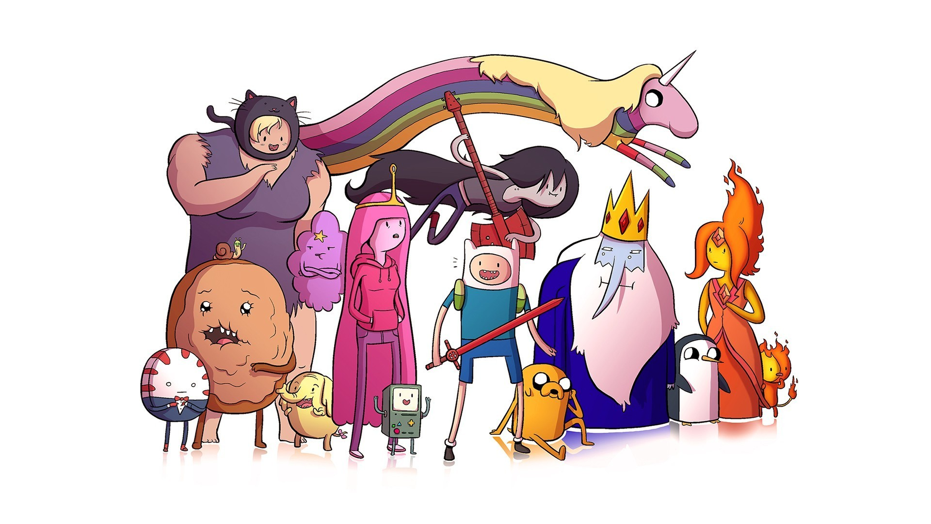 1920x1080  adventure time colorful white background simple background gunter  flame princess ice king jake the dog finn the human lady rainicorn bmo  wallpaper ...