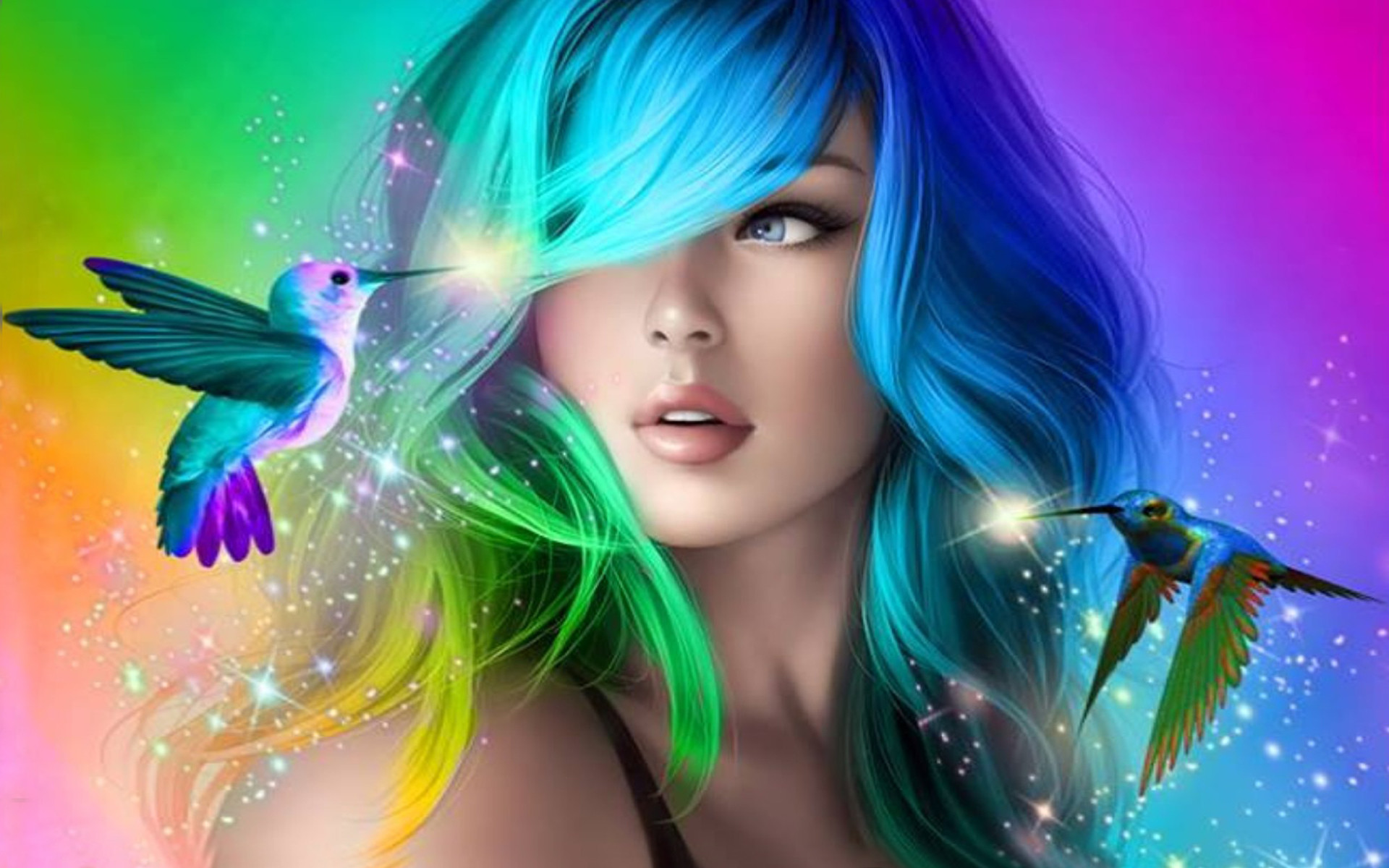 1920x1200 ...  Beautiful Girl With Colorful Hair Desktop Wallpaper Hd For  Mobile