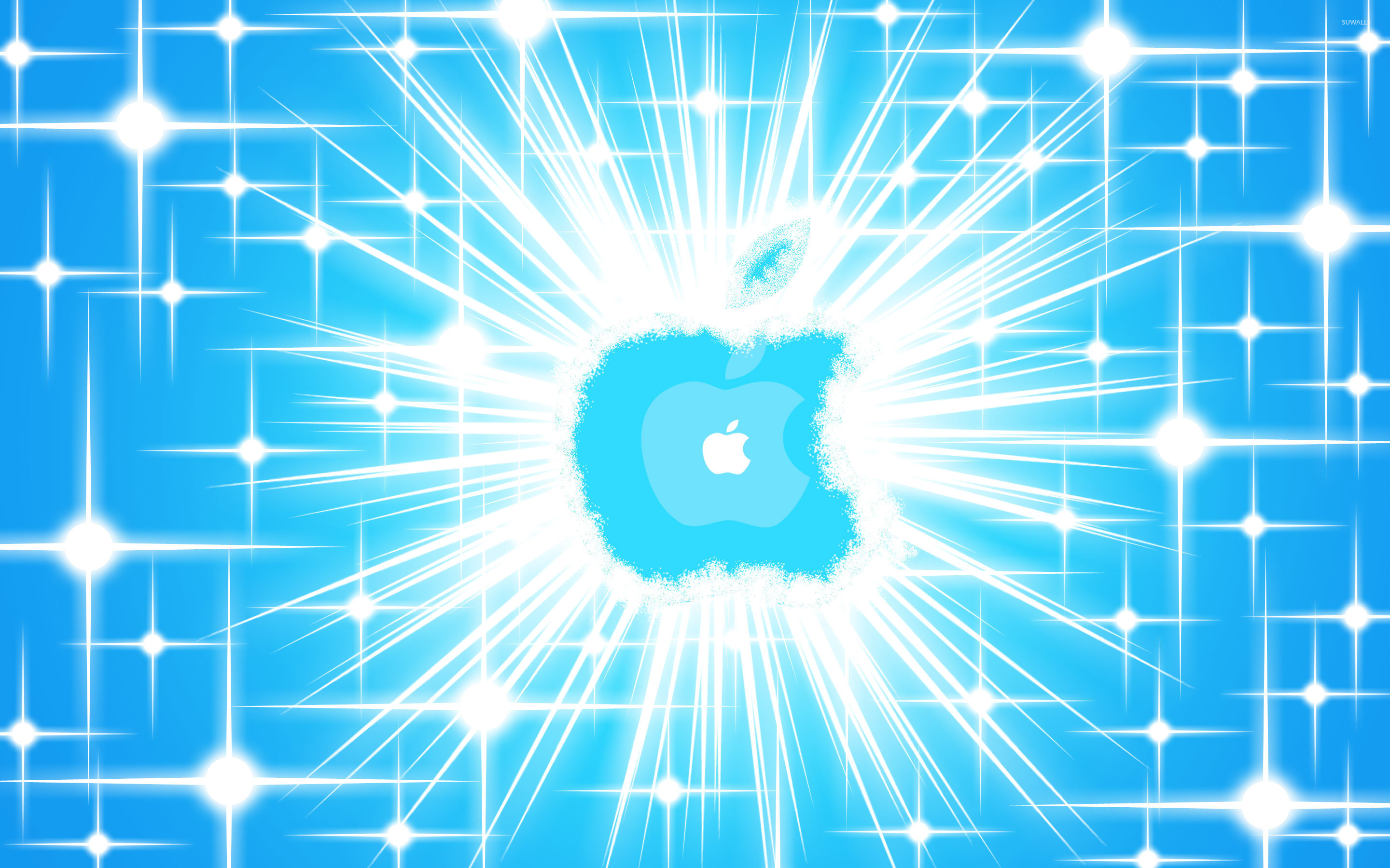 2880x1800 Glowing blue Apple logo wallpaper