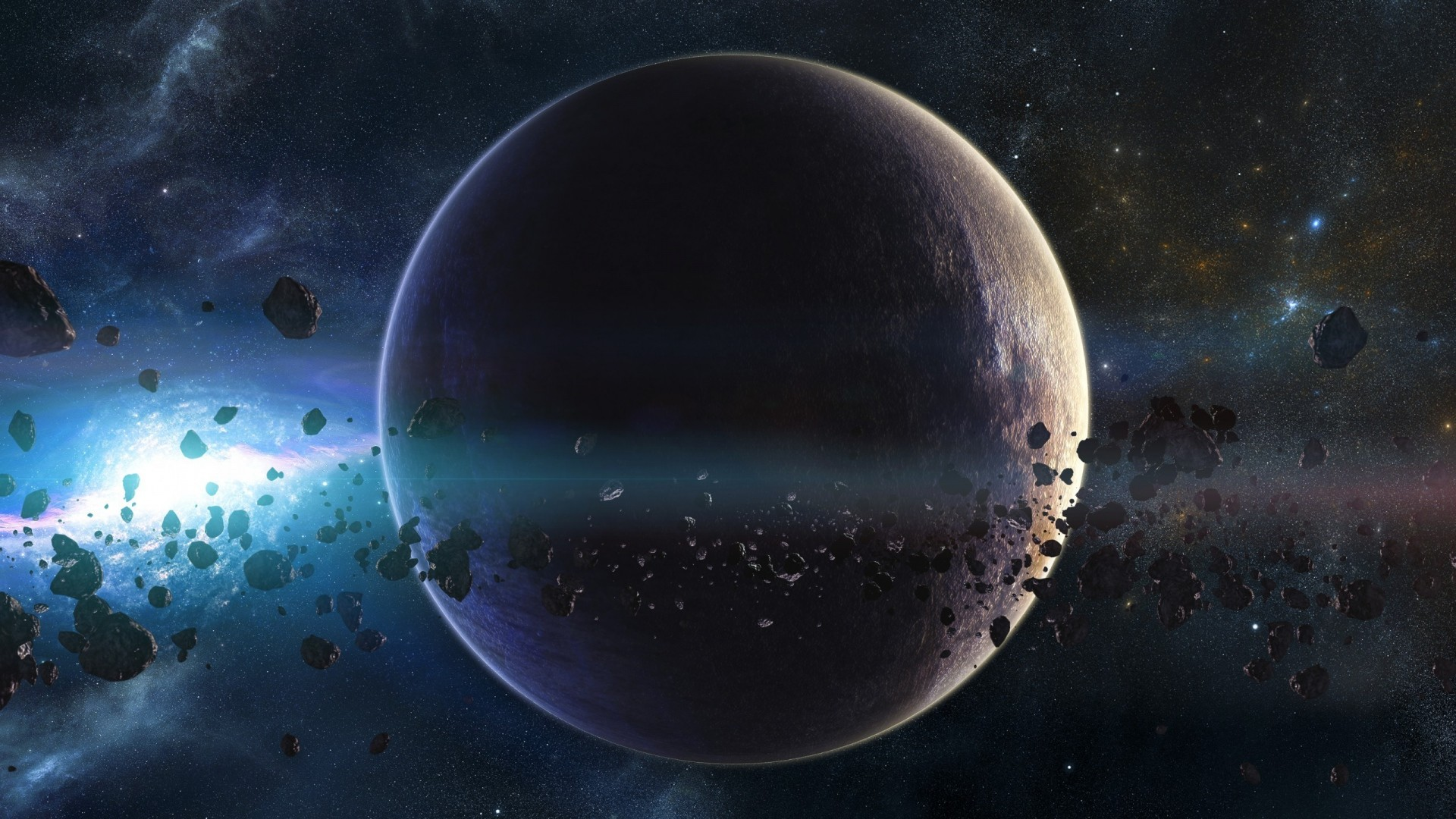 1920x1080 ... Background Full HD 1080p.  Wallpaper space, planets,  asteroids, stars, belt, galaxy