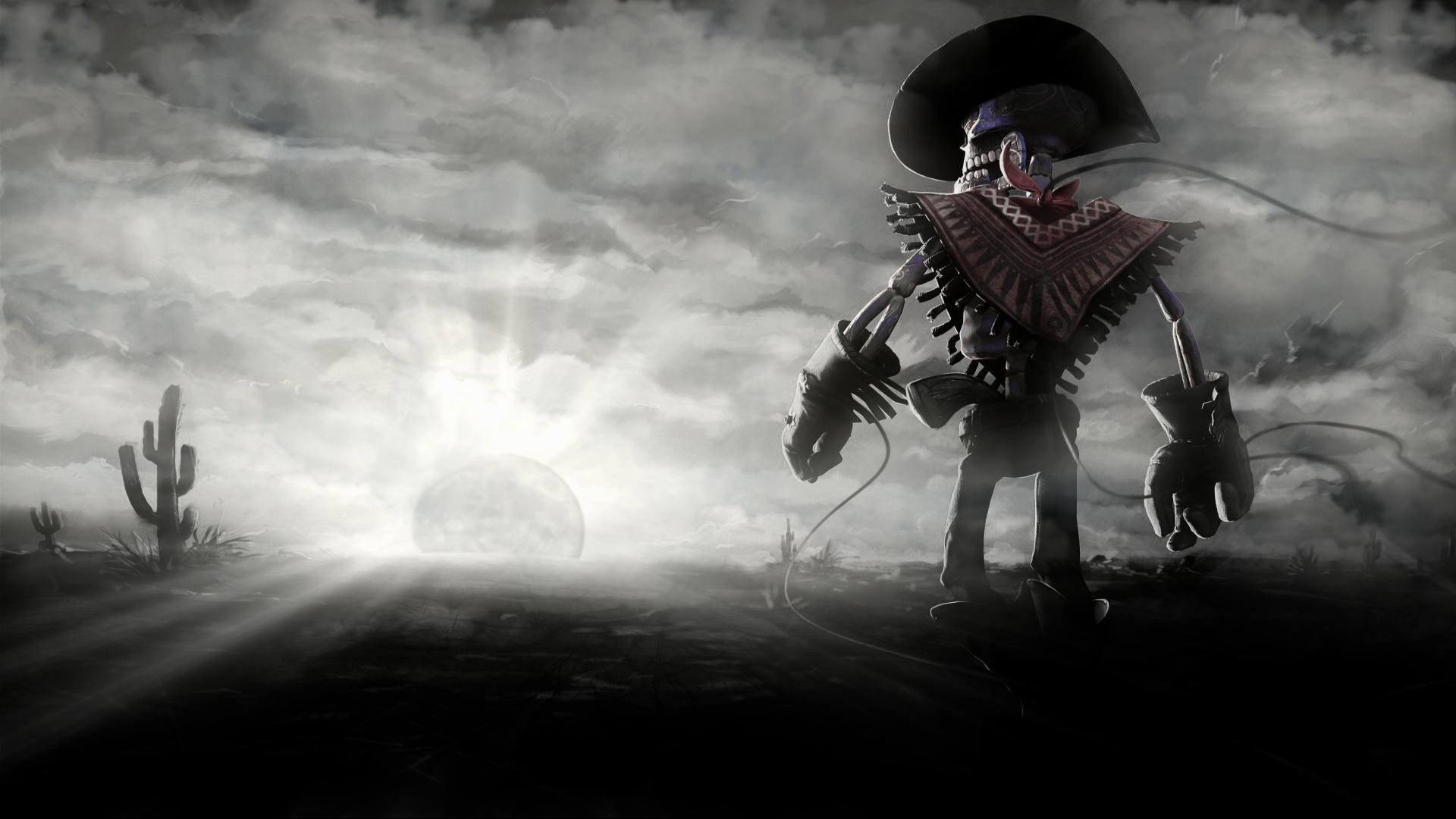 1920x1080 Cowboy-skeleton-sunset-sun-cactus-dark-skull-wallpaper