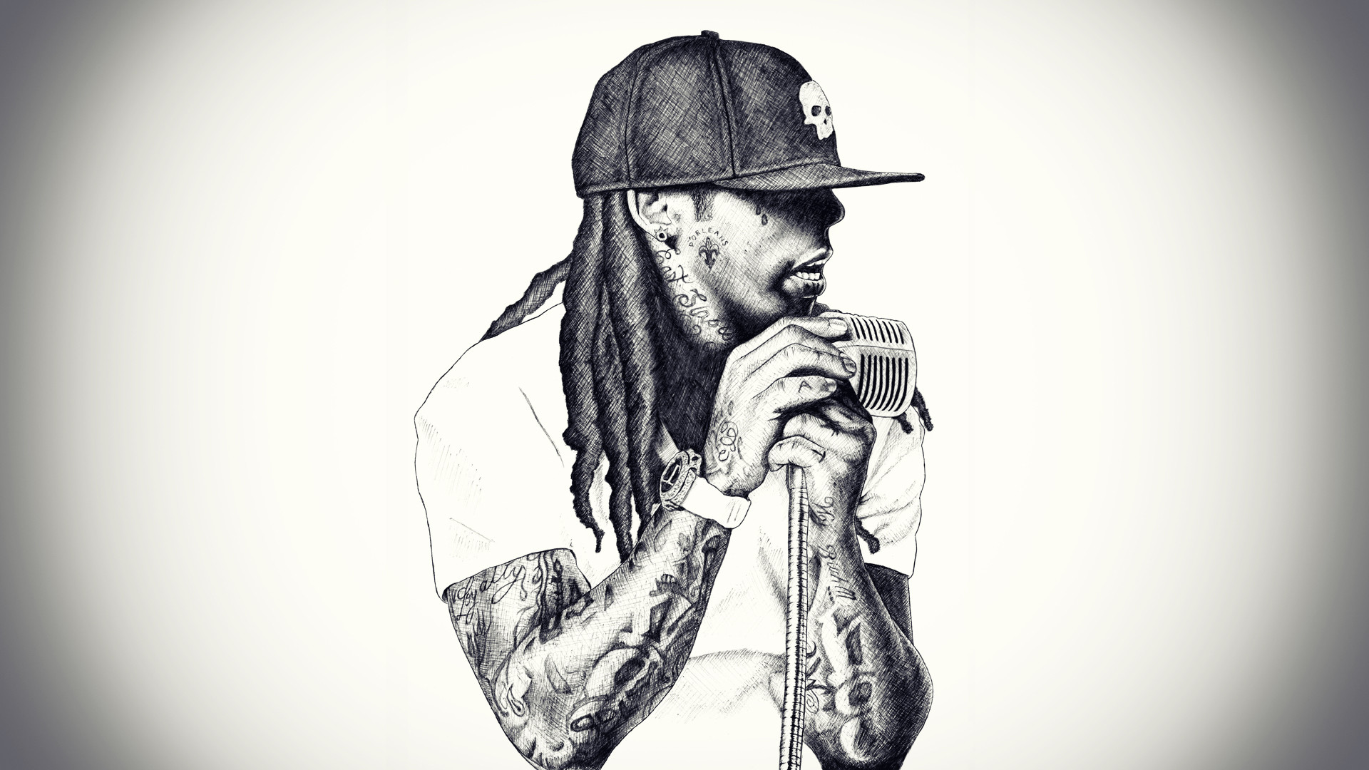 1920x1080  Wallpaper lil wayne, rap, singer, microphone, baseball cap,  dreadlocks
