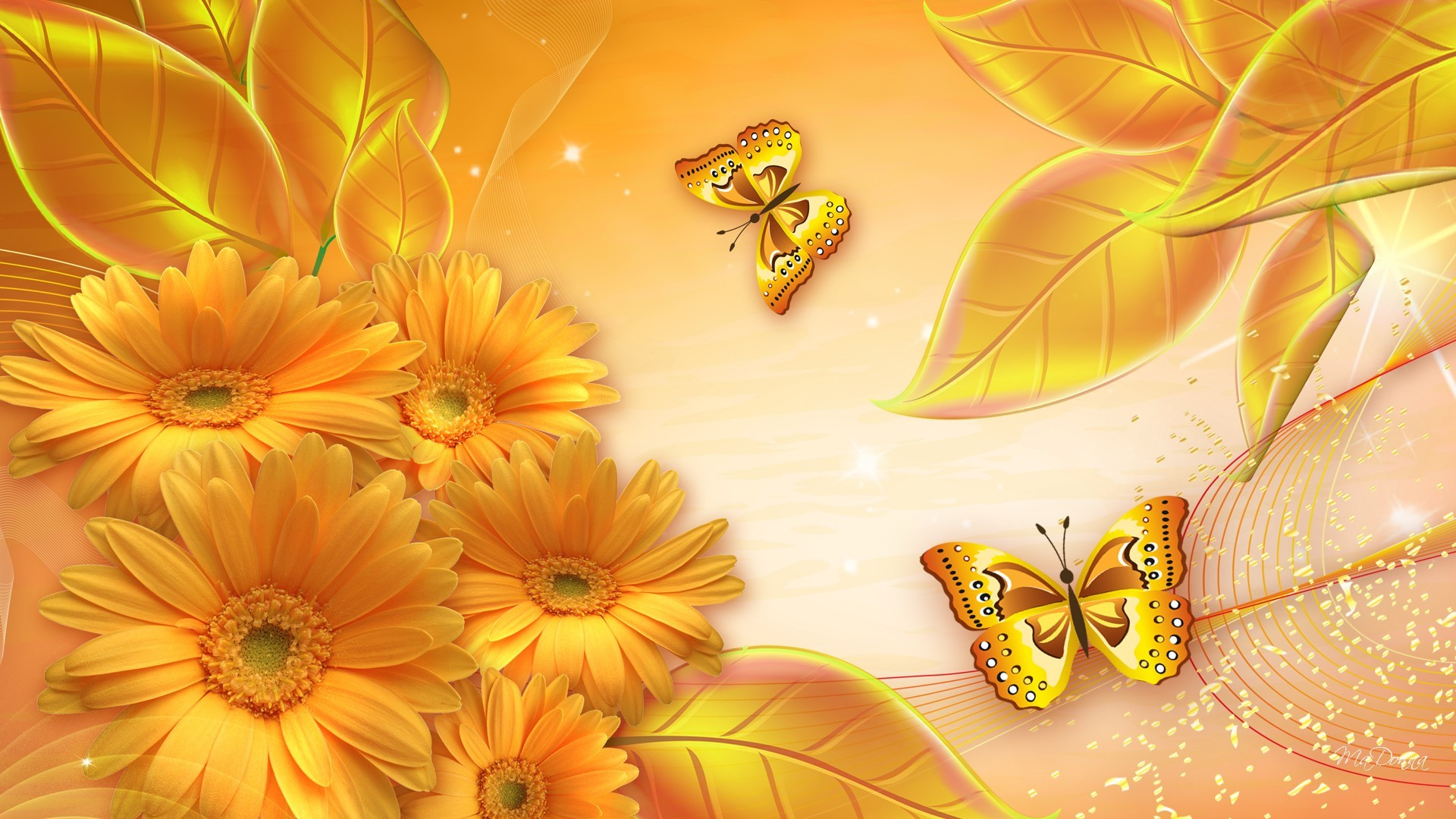 1920x1080 Flowers Gold Awesome Wallpaper